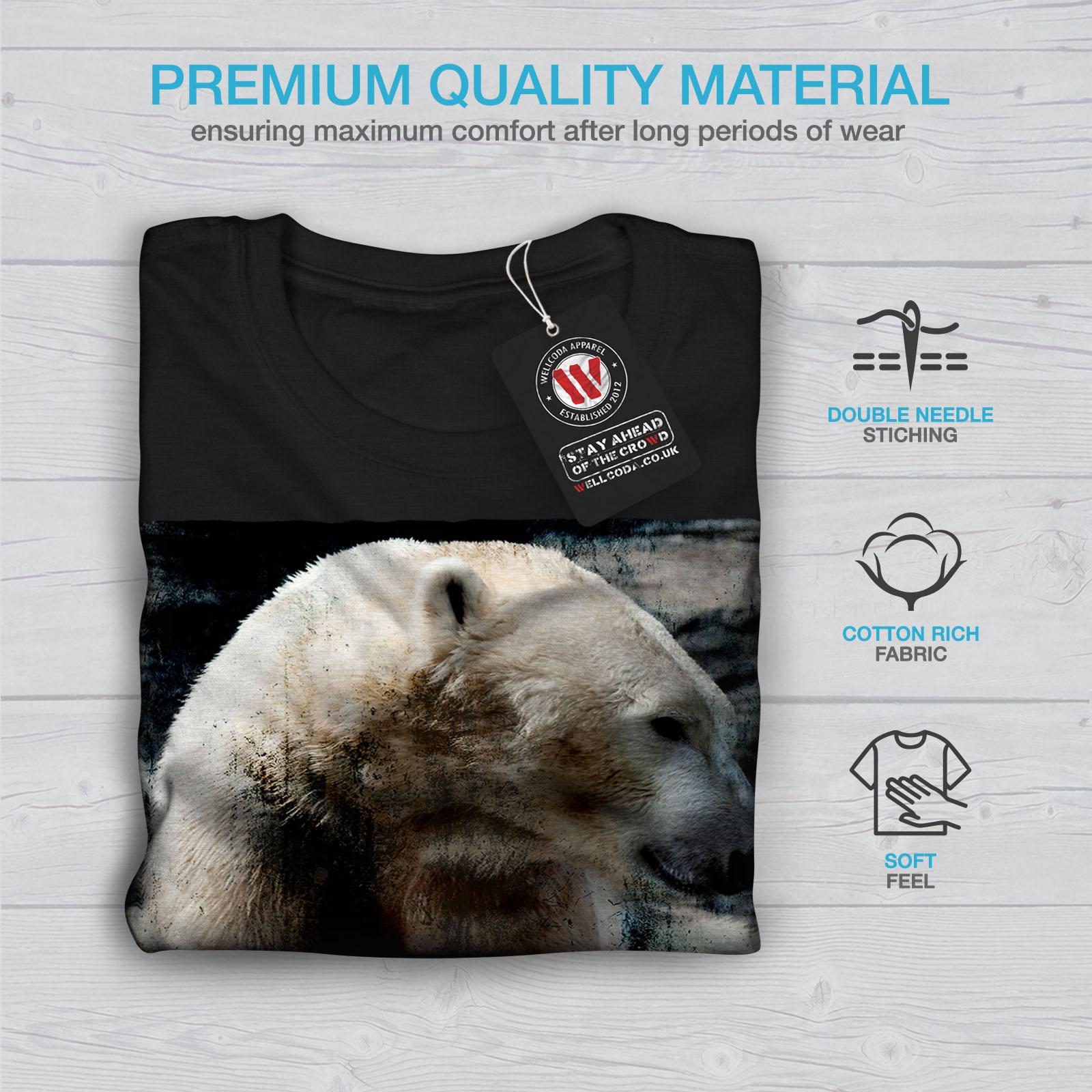 Wellcoda Orso Polare Animale Selvaggio Da Uomo T-shirt Bianco design grafico stampato T-shirt
