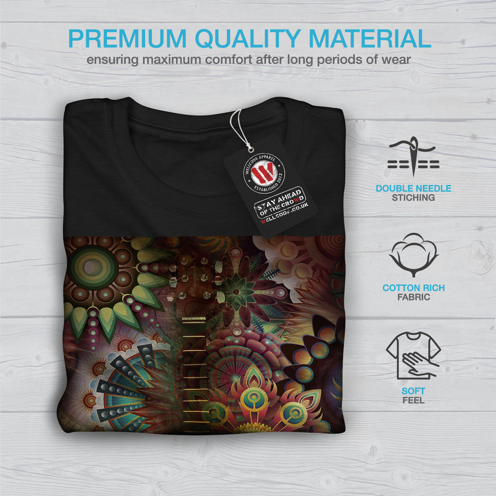 Wellcoda-Colorful-Guitar-Mens-T-shirt-Music-Graphic-Design-Printed-Tee thumbnail 7