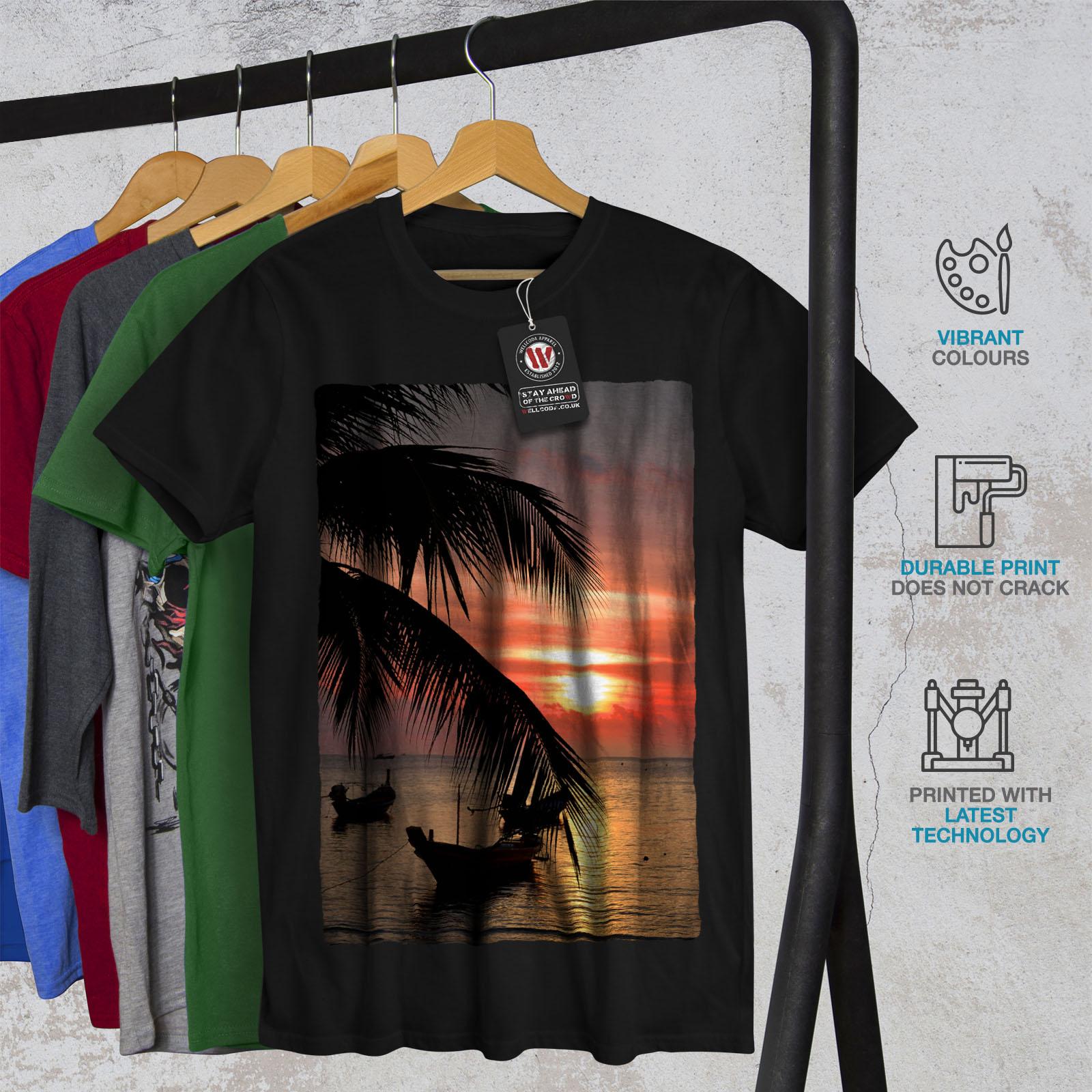 Wellcoda-Sunset-Palm-Tree-Mens-T-shirt-Ocean-Beach-Graphic-Design-Printed-Tee thumbnail 6