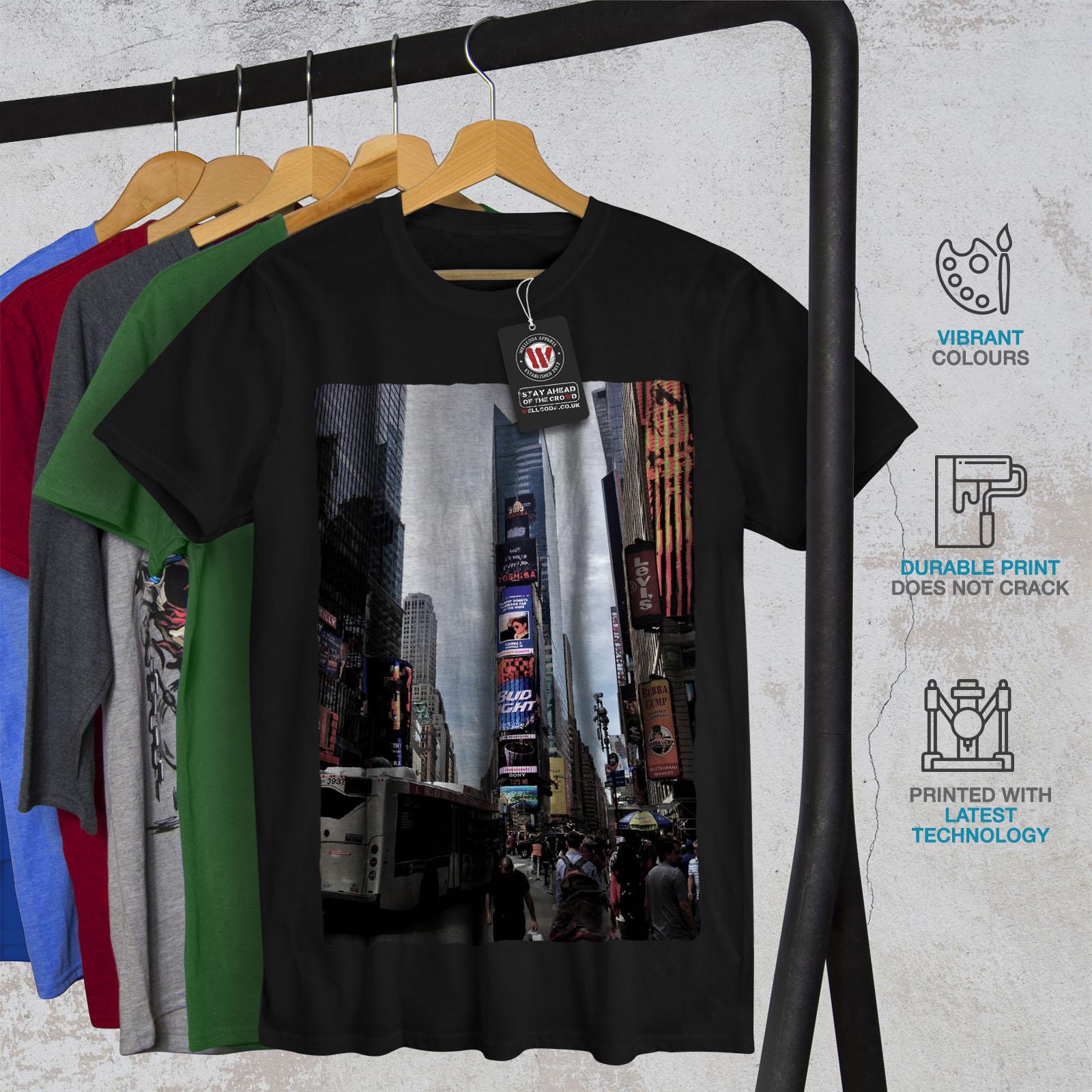 Wellcoda USA Times Square Fashion Mens T-shirt USA Graphic Design Printed Tee