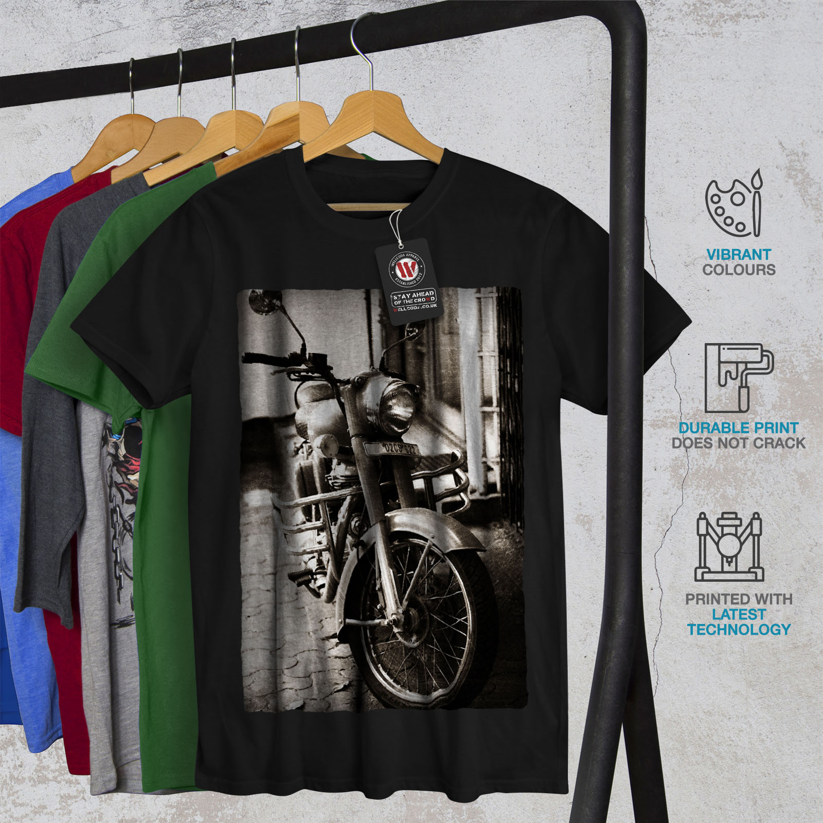 Wellcoda-Old-Retro-Mens-T-shirt-Motorcycle-Graphic-Design-Printed-Tee thumbnail 6