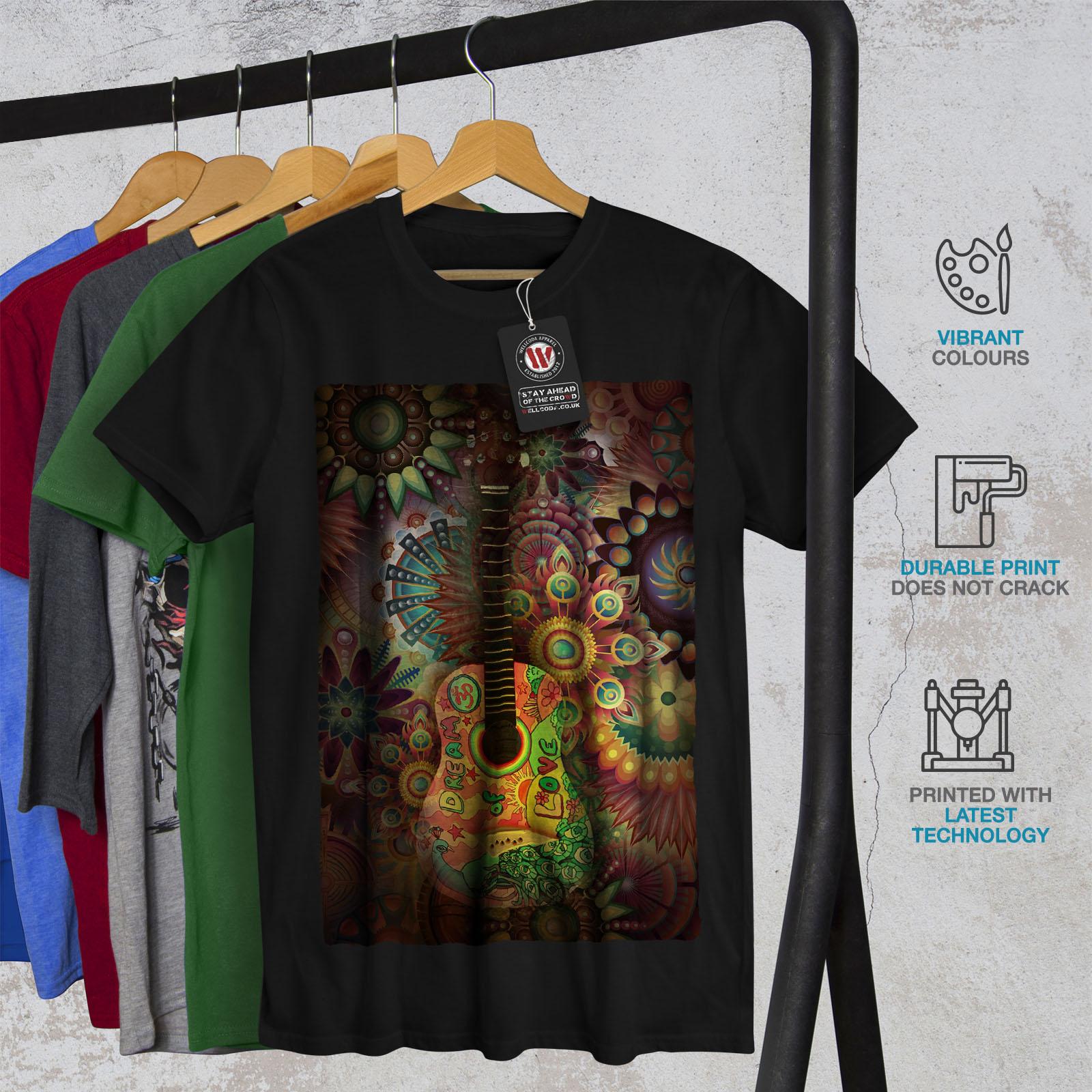 Wellcoda-Colorful-Guitar-Mens-T-shirt-Music-Graphic-Design-Printed-Tee thumbnail 6