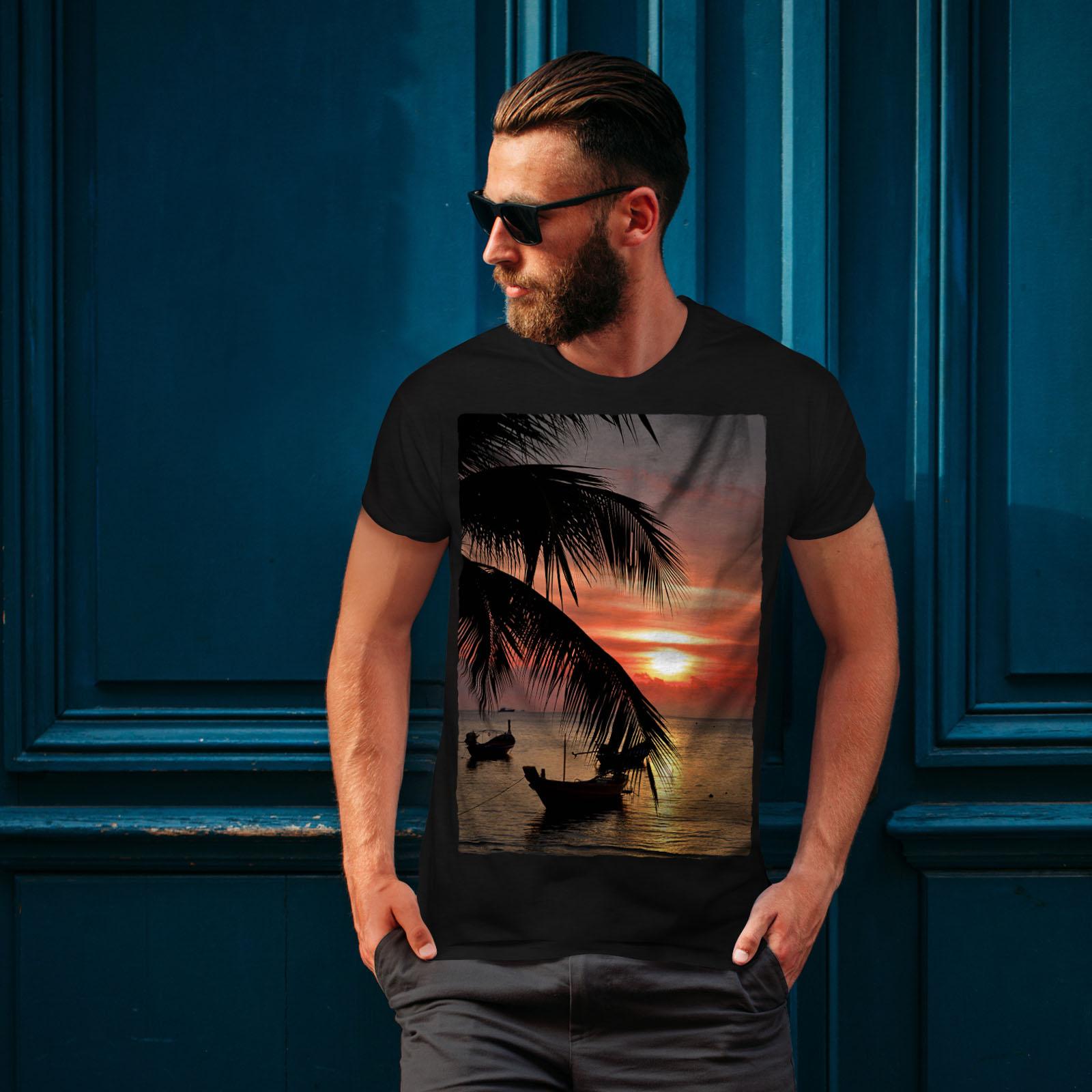 Wellcoda-Sunset-Palm-Tree-Mens-T-shirt-Ocean-Beach-Graphic-Design-Printed-Tee thumbnail 4