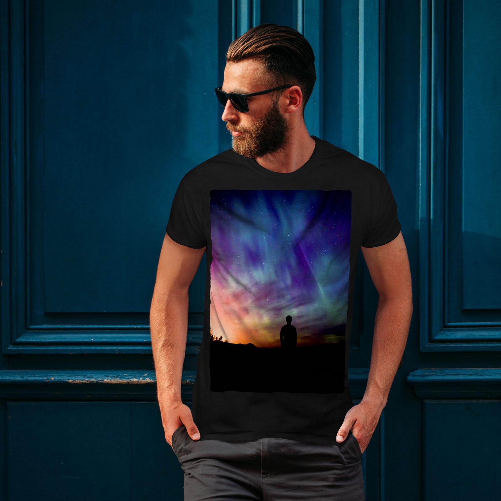 Colorful Graphic Design Printed Tee Wellcoda Aurora Light Night Mens T-shirt