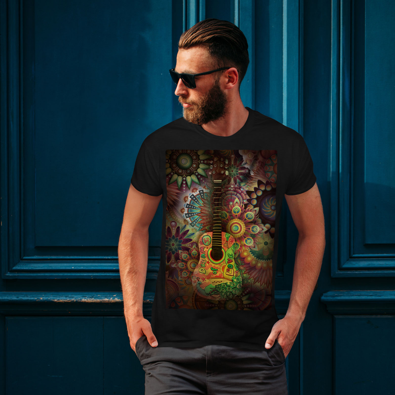 Wellcoda-Colorful-Guitar-Mens-T-shirt-Music-Graphic-Design-Printed-Tee thumbnail 4