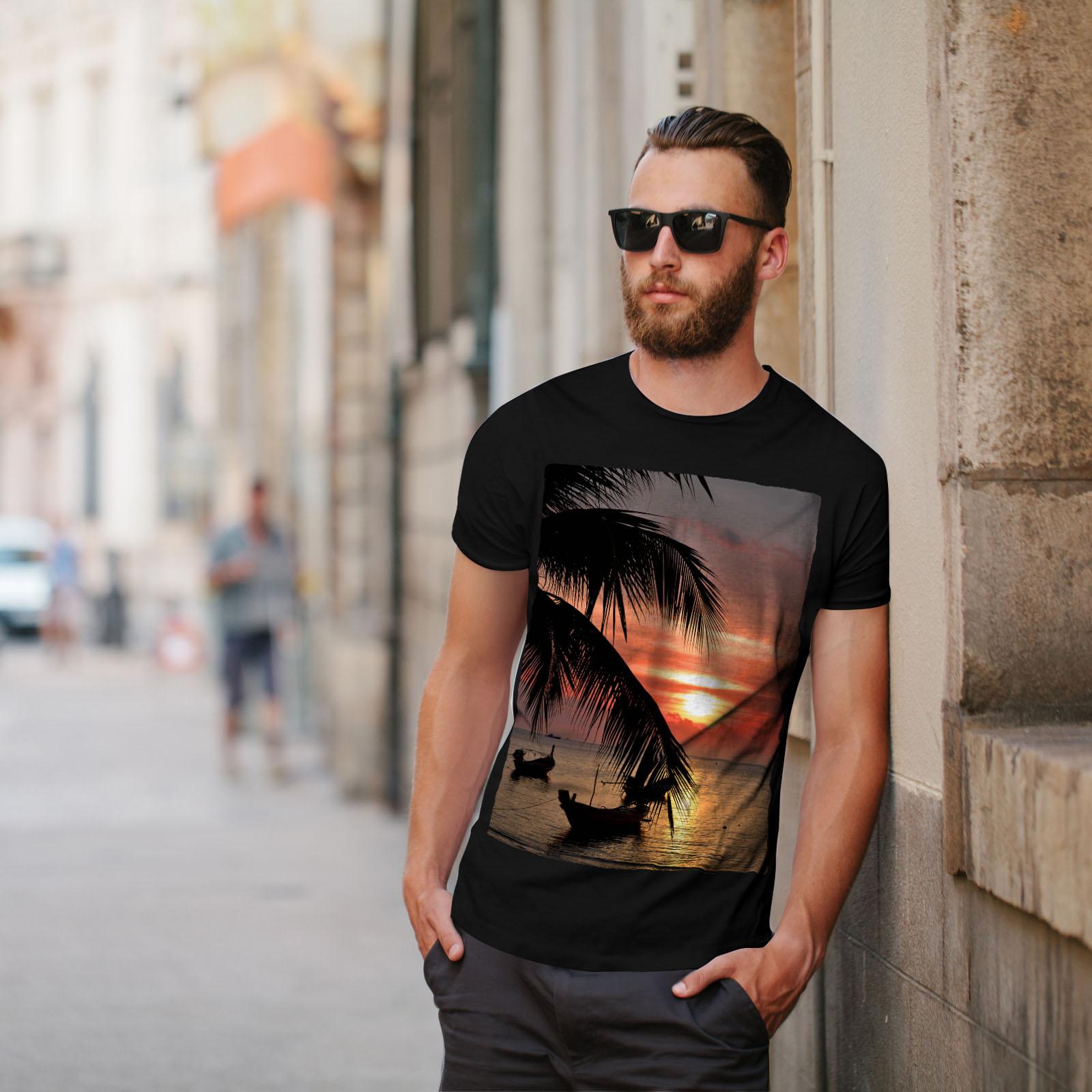 Wellcoda-Sunset-Palm-Tree-Mens-T-shirt-Ocean-Beach-Graphic-Design-Printed-Tee thumbnail 5