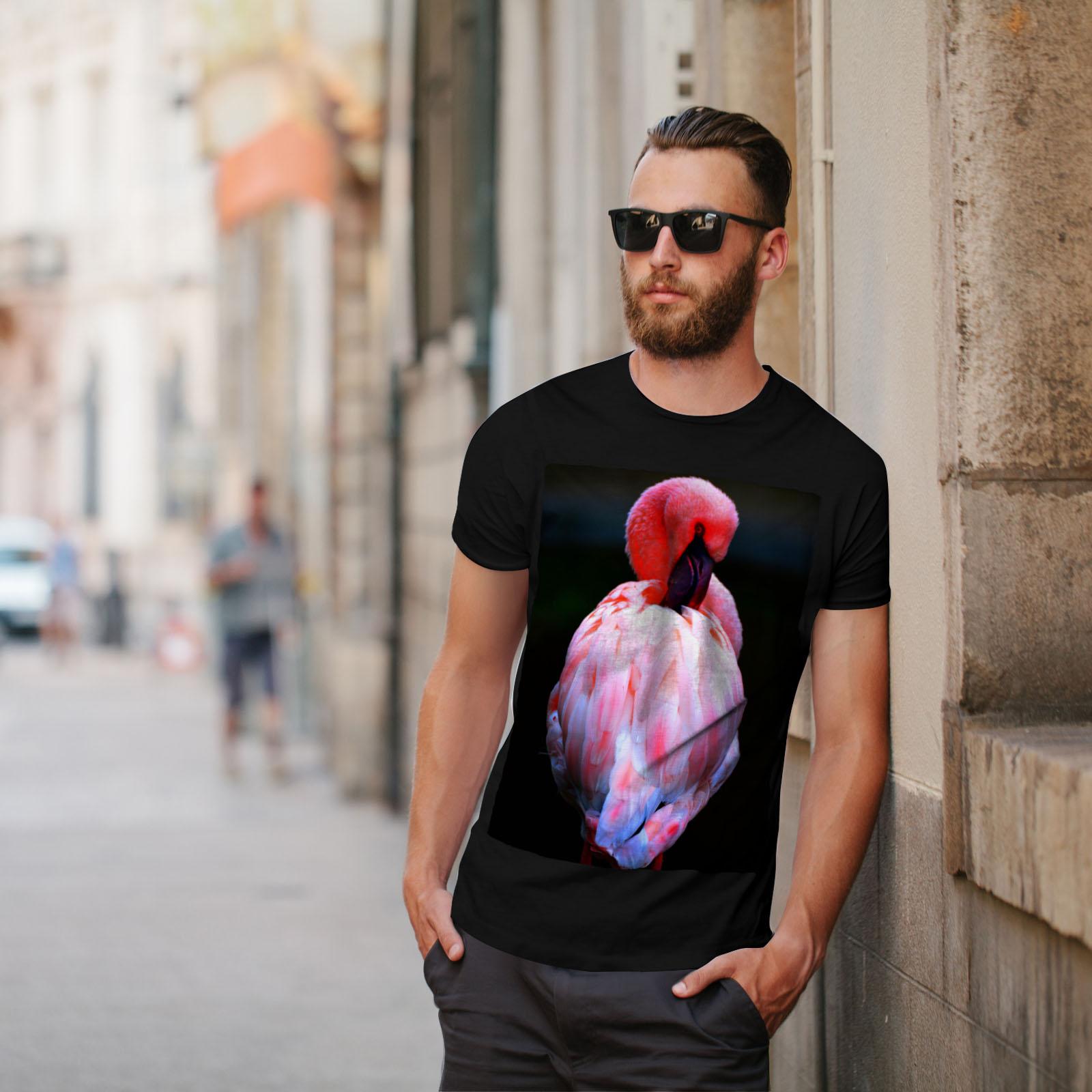 Tropical Graphic Design Printed Tee Wellcoda Pink Flamingo Island Mens T-shirt