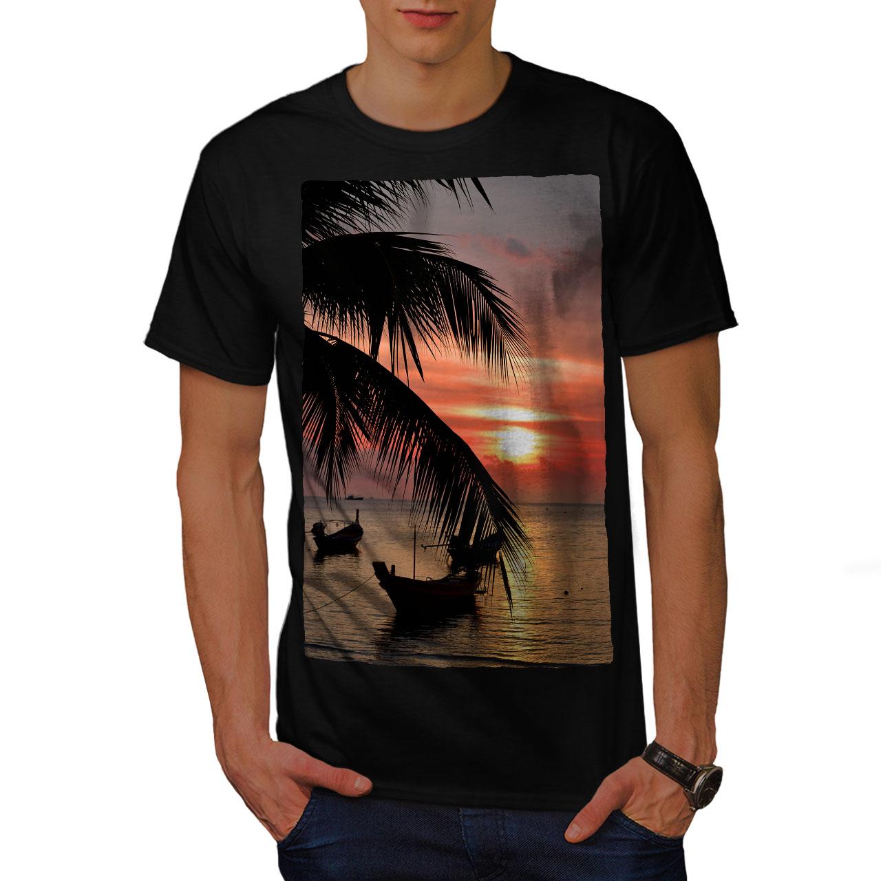 Wellcoda-Sunset-Palm-Tree-Mens-T-shirt-Ocean-Beach-Graphic-Design-Printed-Tee thumbnail 3