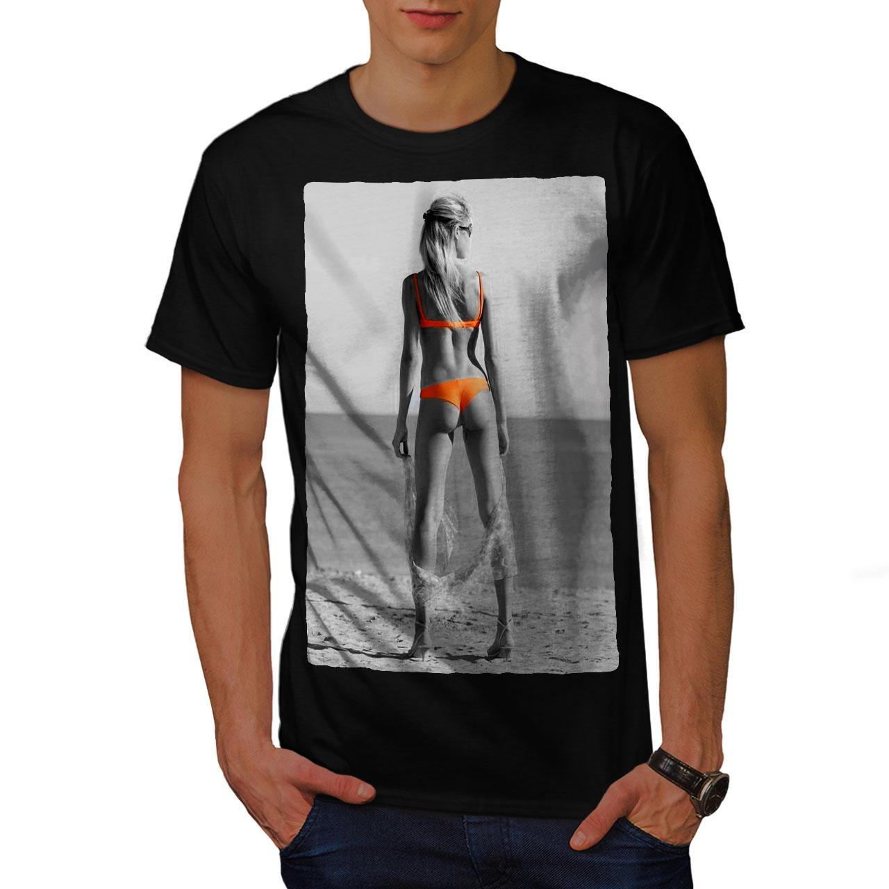 c7385dbf7 Wellcoda Beach Girl Bikini Sexy Mens T-shirt, Orange Graphic Design ...