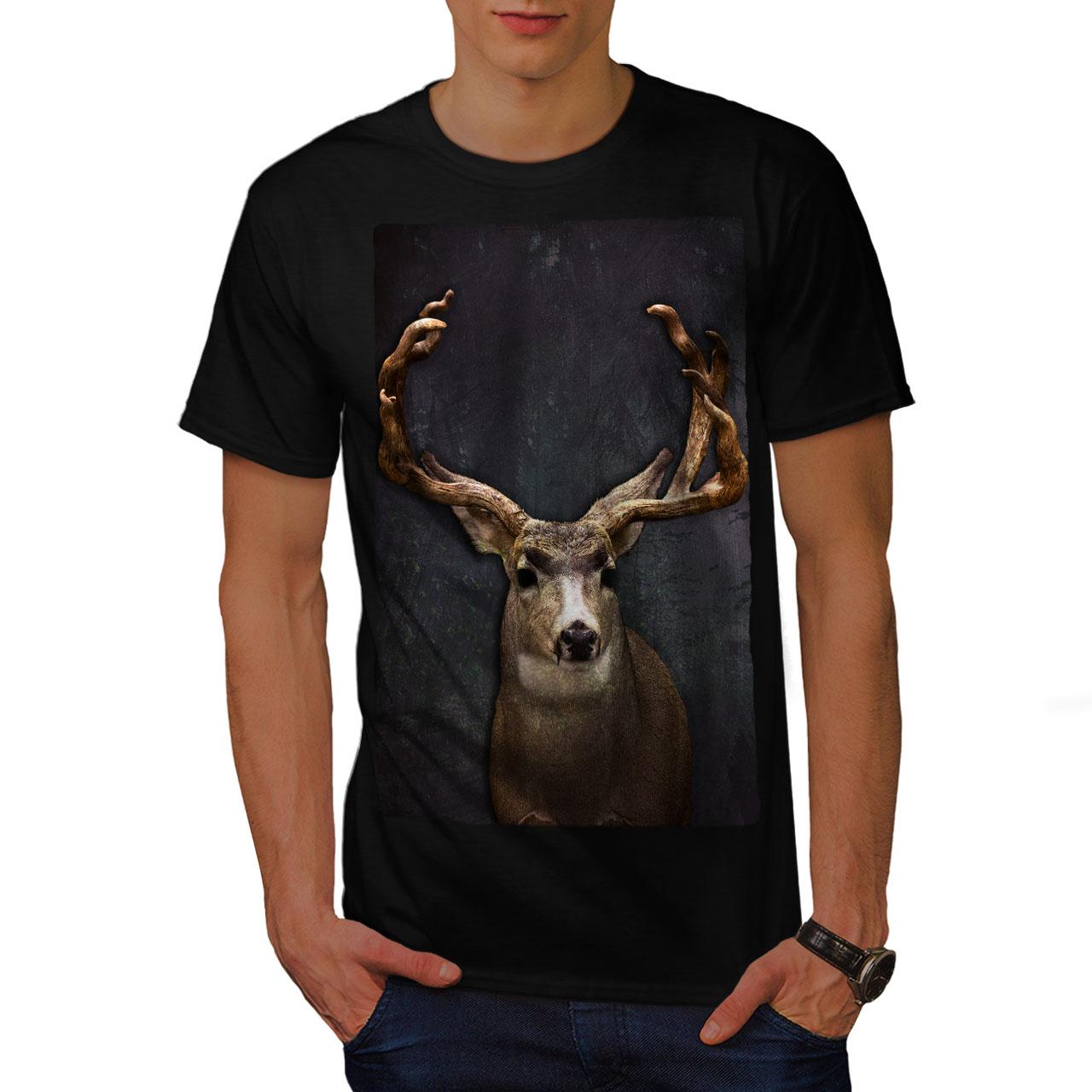 Wellcoda BESTIA Cervo Animale Selvatico Da Uomo T-shirt Buck design grafico stampato T-shirt