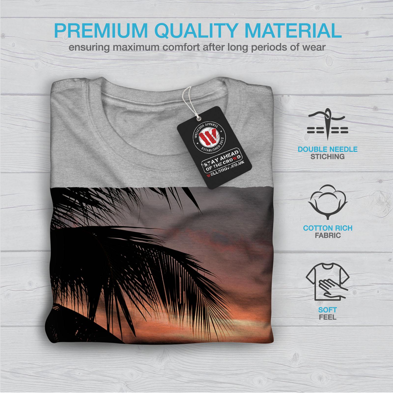 Wellcoda-Sunset-Palm-Tree-Mens-T-shirt-Ocean-Beach-Graphic-Design-Printed-Tee thumbnail 19