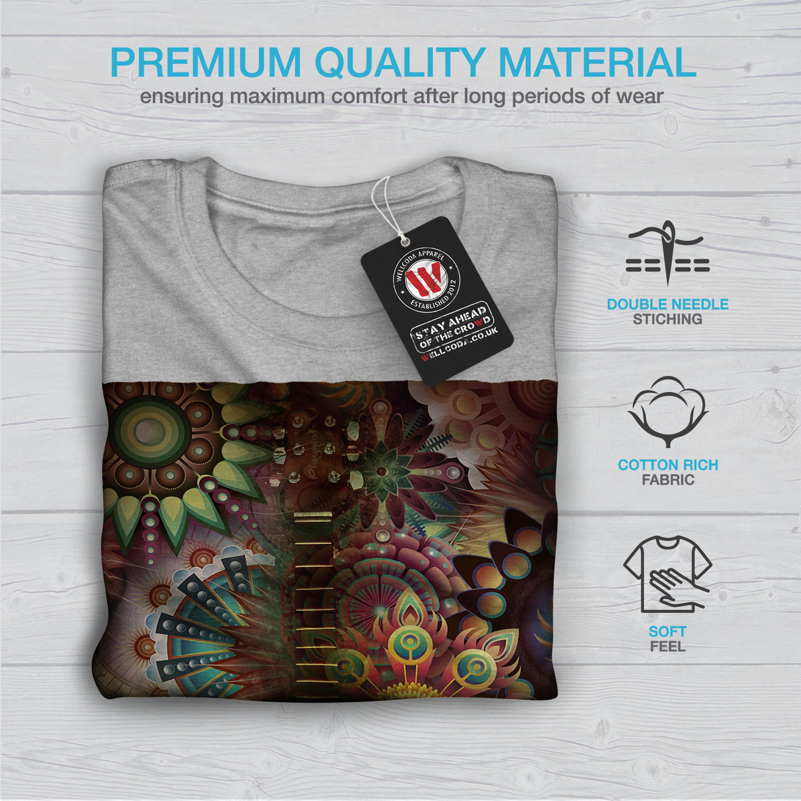 Wellcoda-Colorful-Guitar-Mens-T-shirt-Music-Graphic-Design-Printed-Tee thumbnail 19