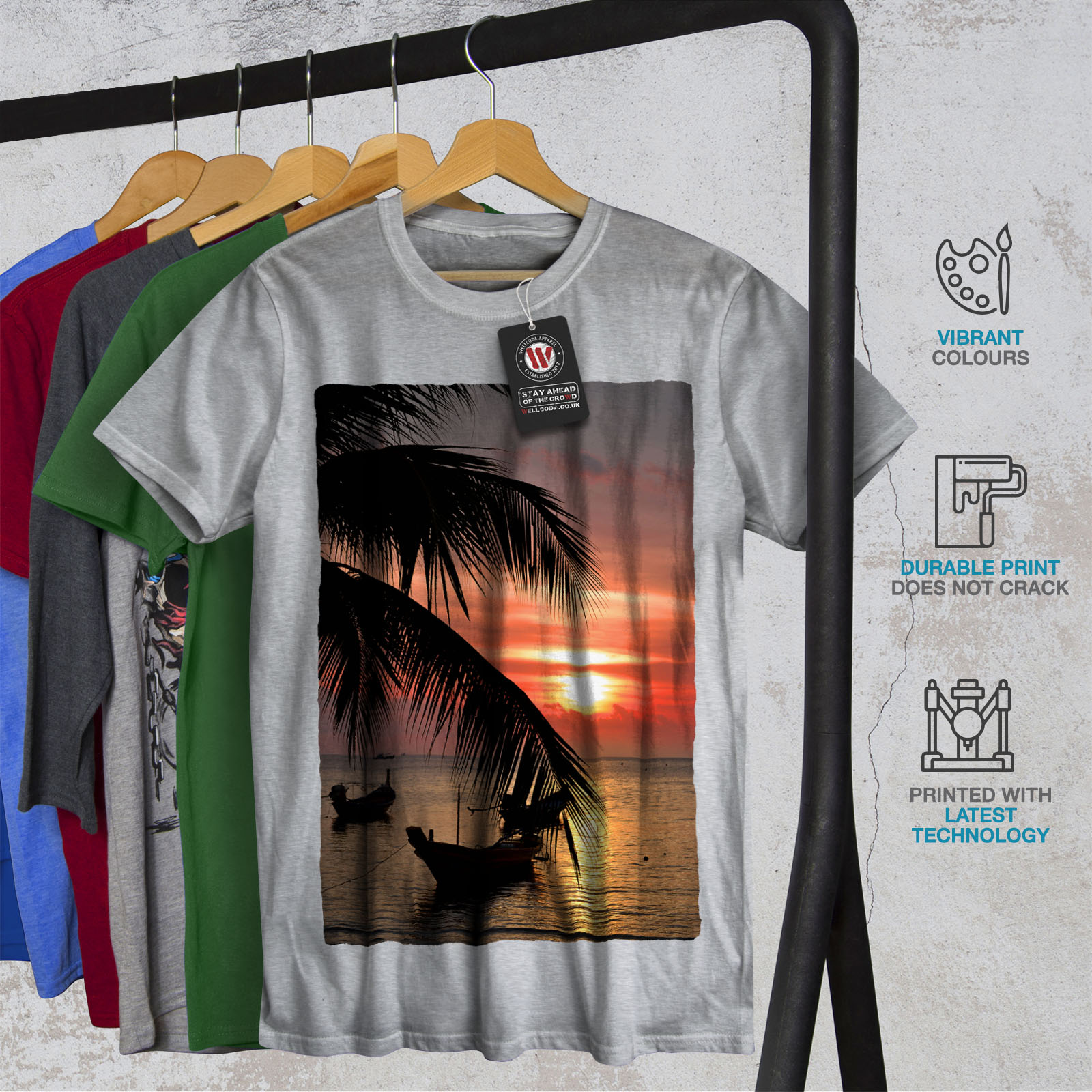 Wellcoda-Sunset-Palm-Tree-Mens-T-shirt-Ocean-Beach-Graphic-Design-Printed-Tee thumbnail 18