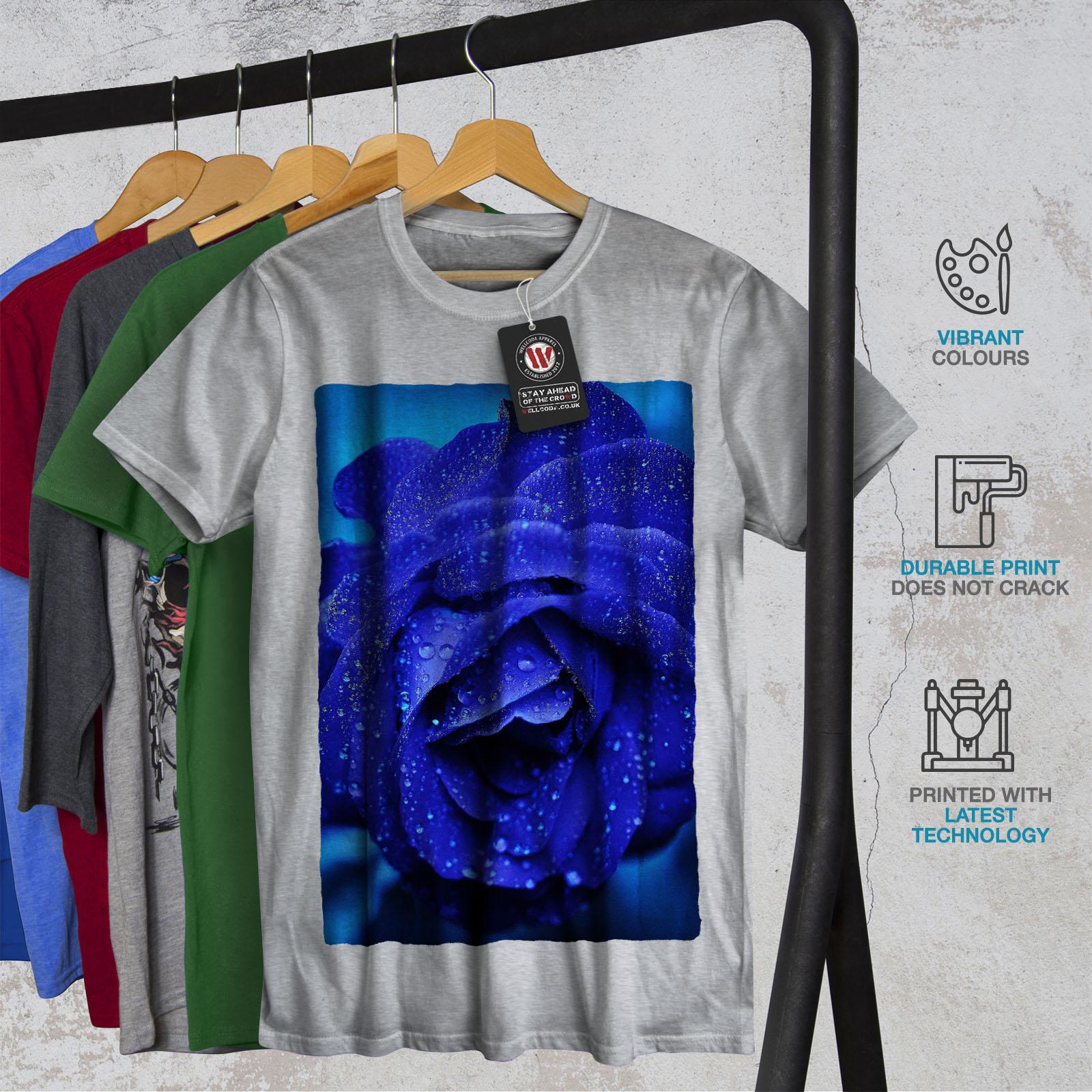 terra di design grafico stampato T-shirt Wellcoda Blue Rose bellissimo da uomo T-shirt