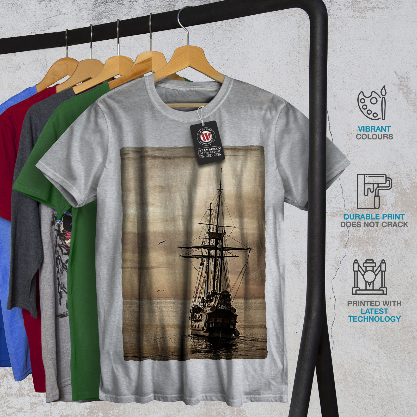 Wellcoda-Ship-Old-Ocean-Vintage-Mens-T-shirt-Sea-Graphic-Design-Printed-Tee thumbnail 18
