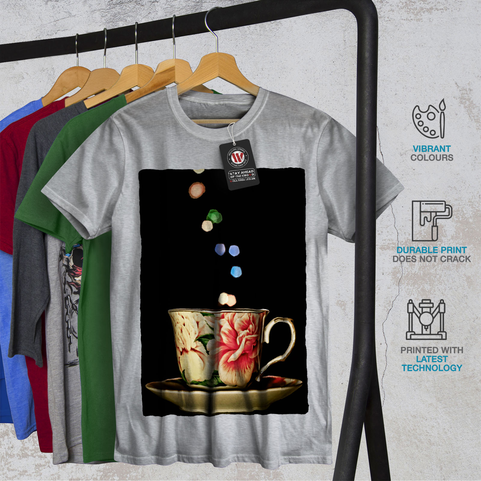 Wellcoda-Tea-Cup-Retro-Old-Mens-T-shirt-Smell-Graphic-Design-Printed-Tee thumbnail 18