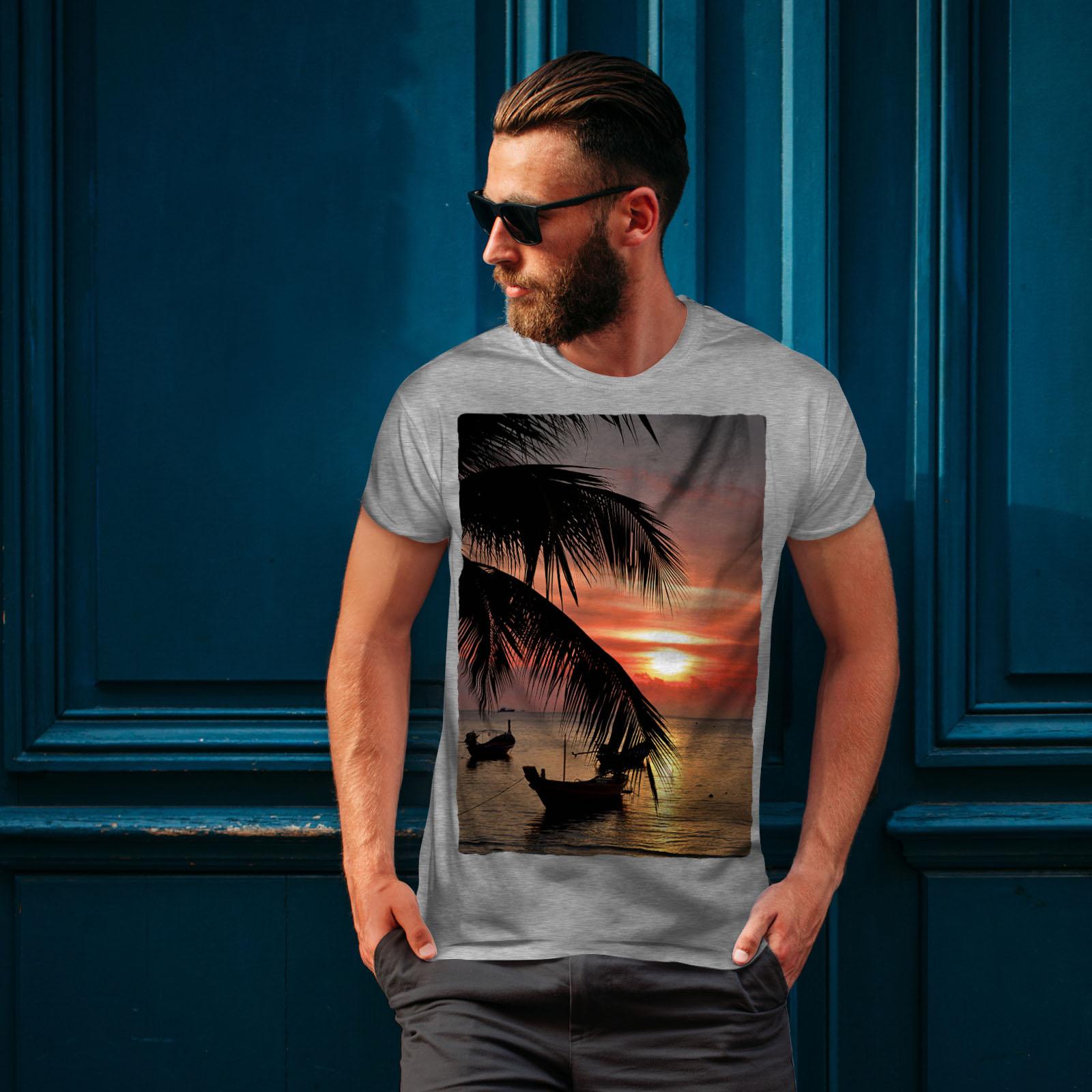 Wellcoda-Sunset-Palm-Tree-Mens-T-shirt-Ocean-Beach-Graphic-Design-Printed-Tee thumbnail 16