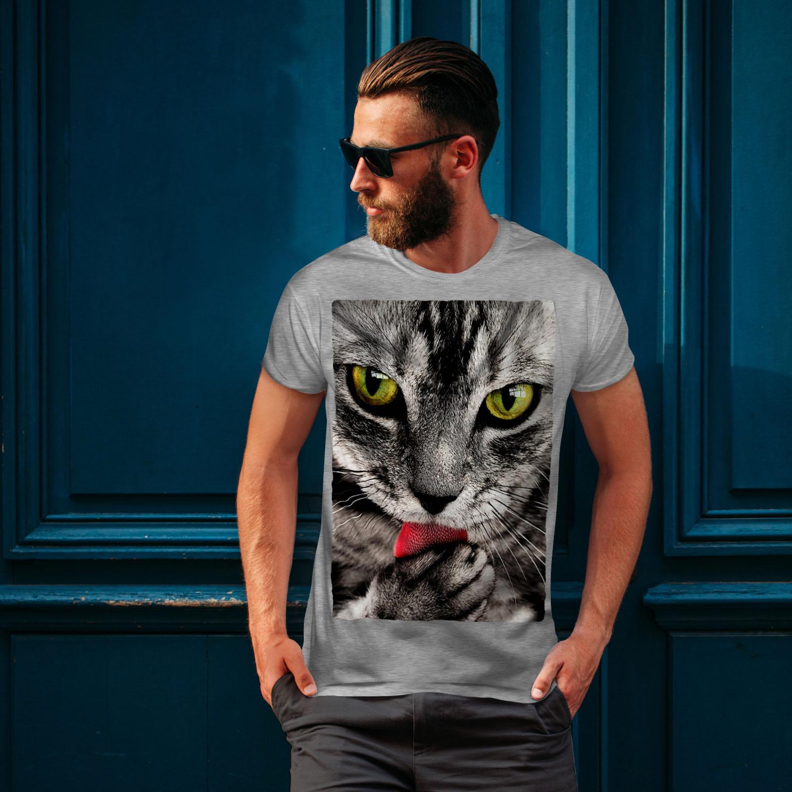 Wellcoda Chat conception lèche patte Mignon Animal T-shirt homme, Mignon conception Chat graphique imprimé Tee 46d74a