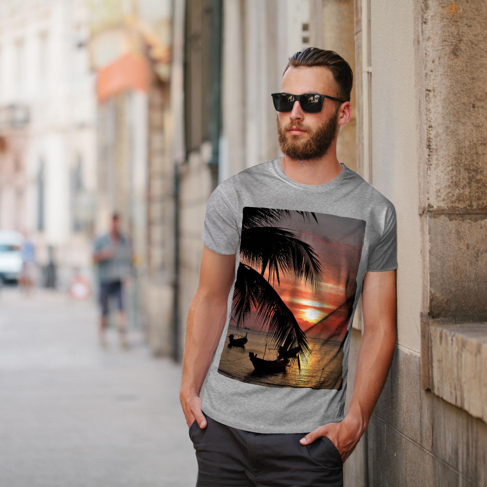 Wellcoda-Sunset-Palm-Tree-Mens-T-shirt-Ocean-Beach-Graphic-Design-Printed-Tee thumbnail 17