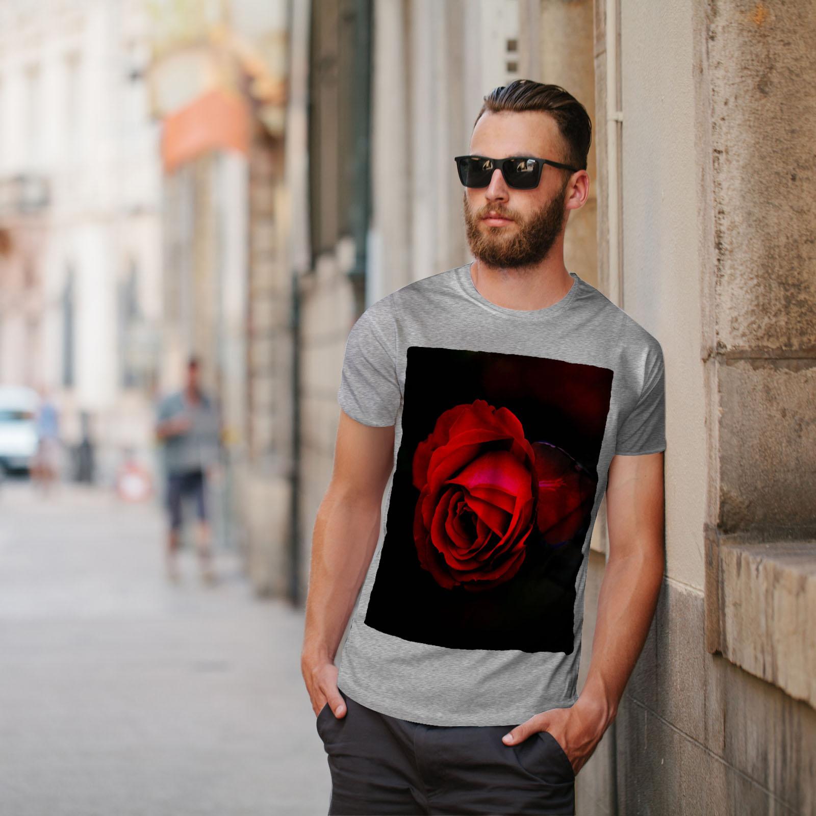 Wellcoda Beauty Rosa Rossa Da Uomo T-shirt romantico design grafico stampato T-shirt