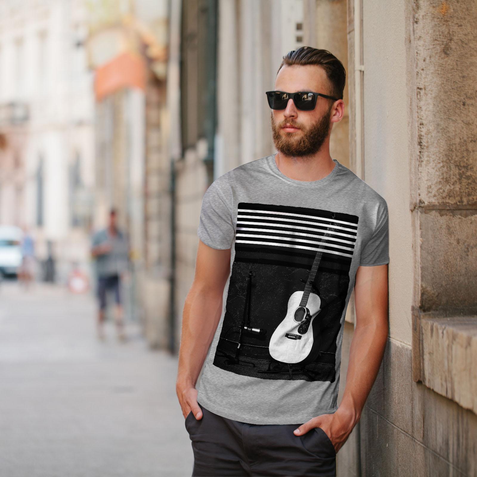 Wellcoda Acoustic Guitar Mens T-shirt Music Graphic Design Printed Tee