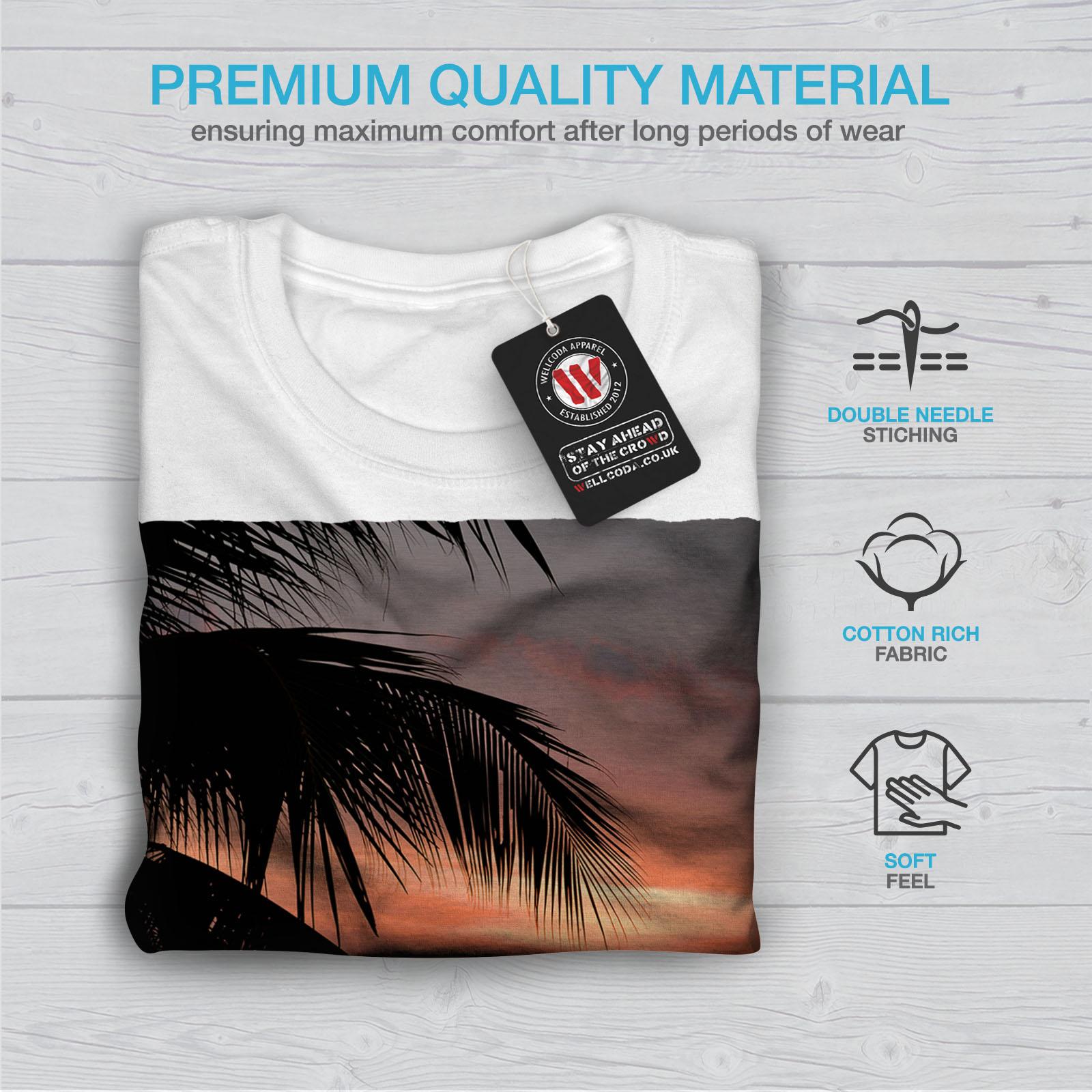 Wellcoda-Sunset-Palm-Tree-Mens-T-shirt-Ocean-Beach-Graphic-Design-Printed-Tee thumbnail 13