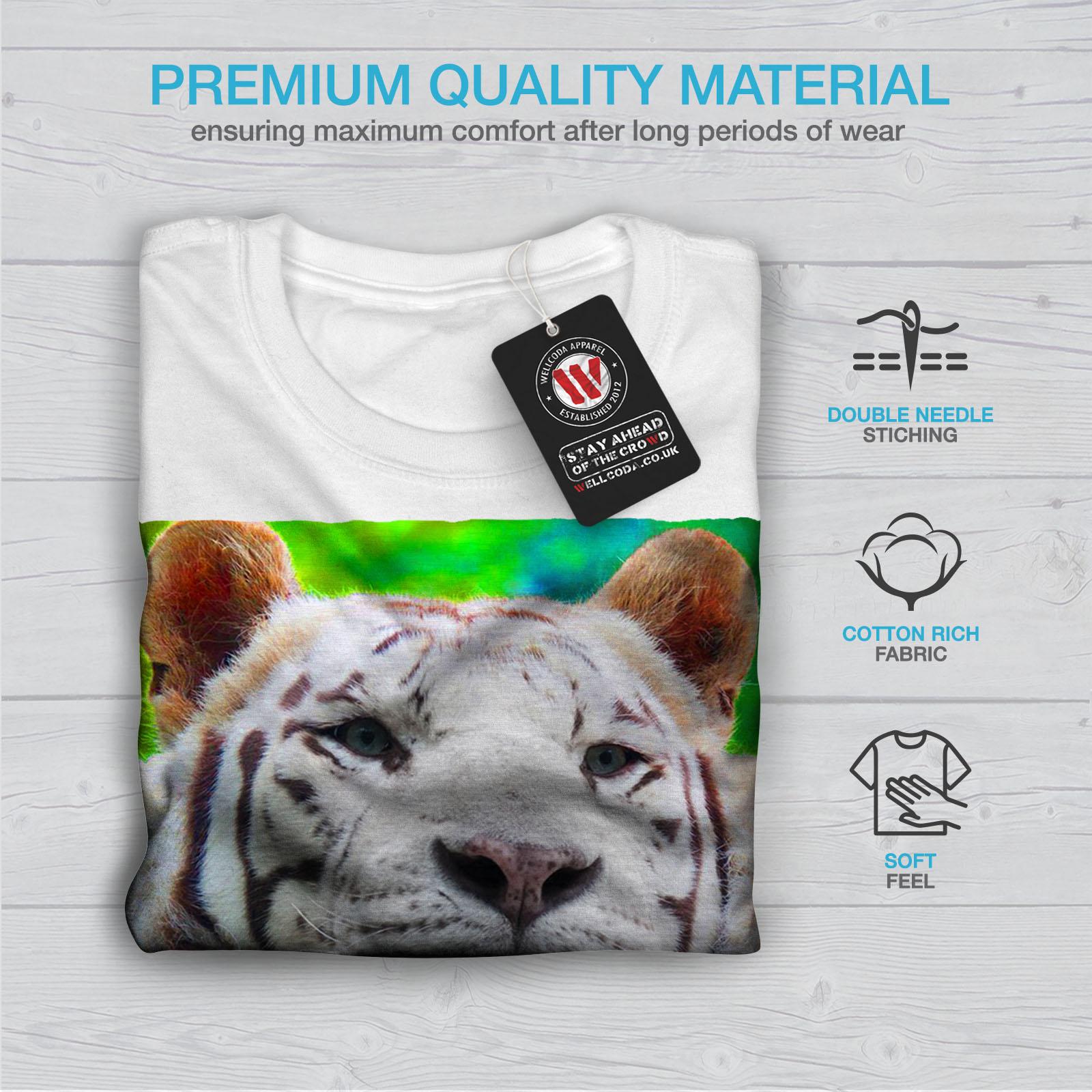 Bianco design grafico stampato T-shirt Wellcoda TIGER foto Bestia Da Uomo T-shirt