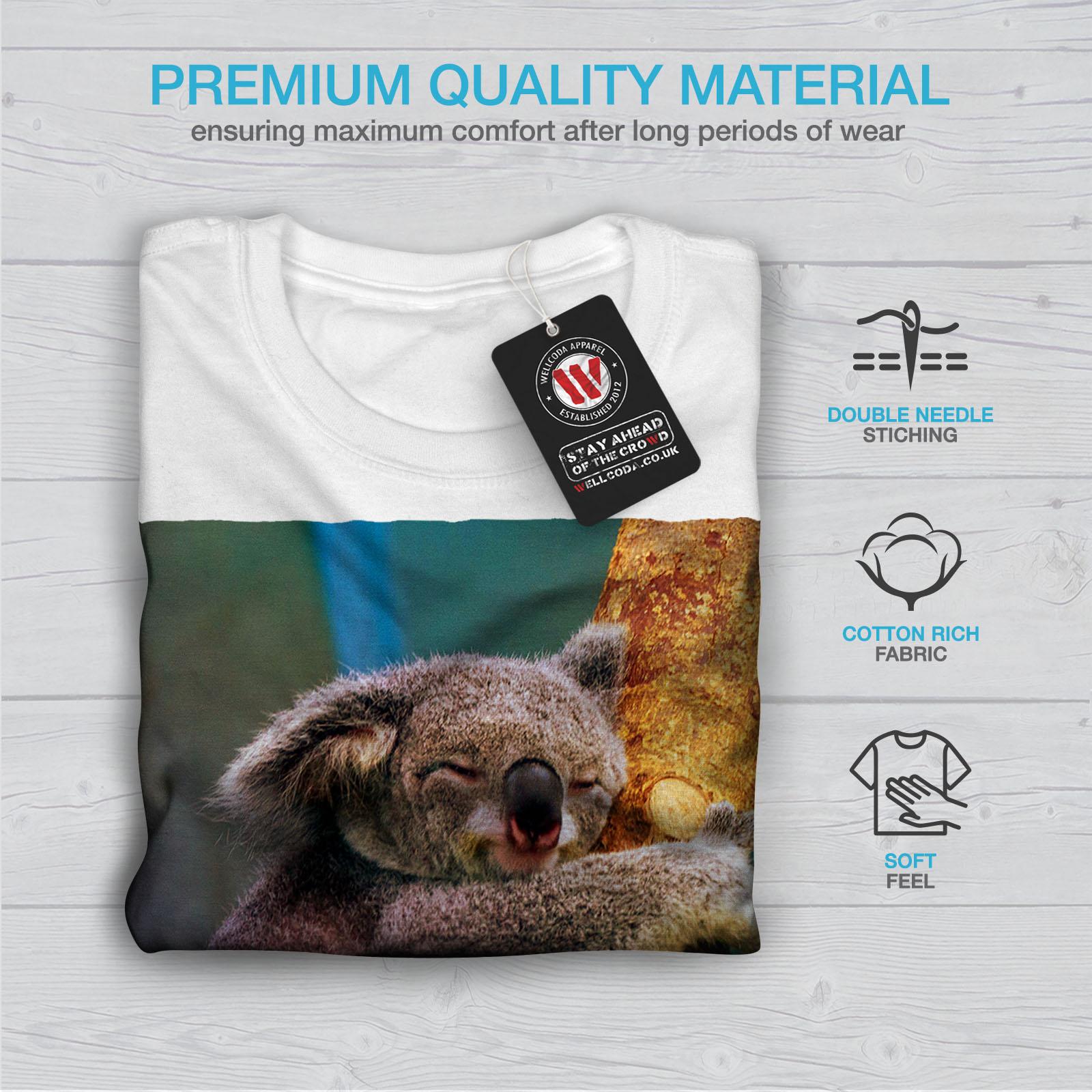 Wellcoda Koala On A Tree Womens V-Neck T-shirt Slow Animal Graphic Design Tee