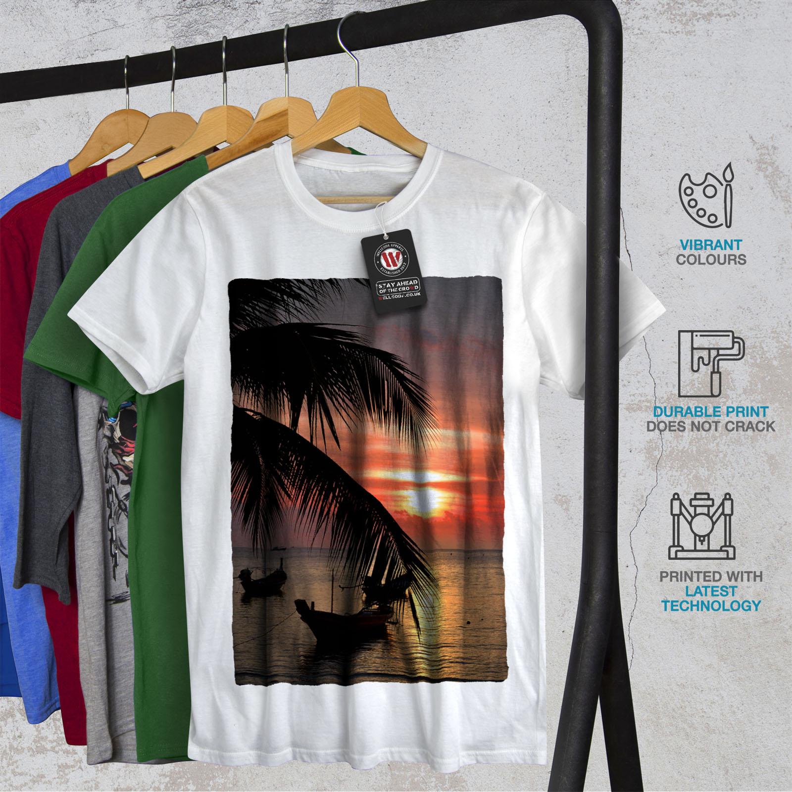 Wellcoda-Sunset-Palm-Tree-Mens-T-shirt-Ocean-Beach-Graphic-Design-Printed-Tee thumbnail 12