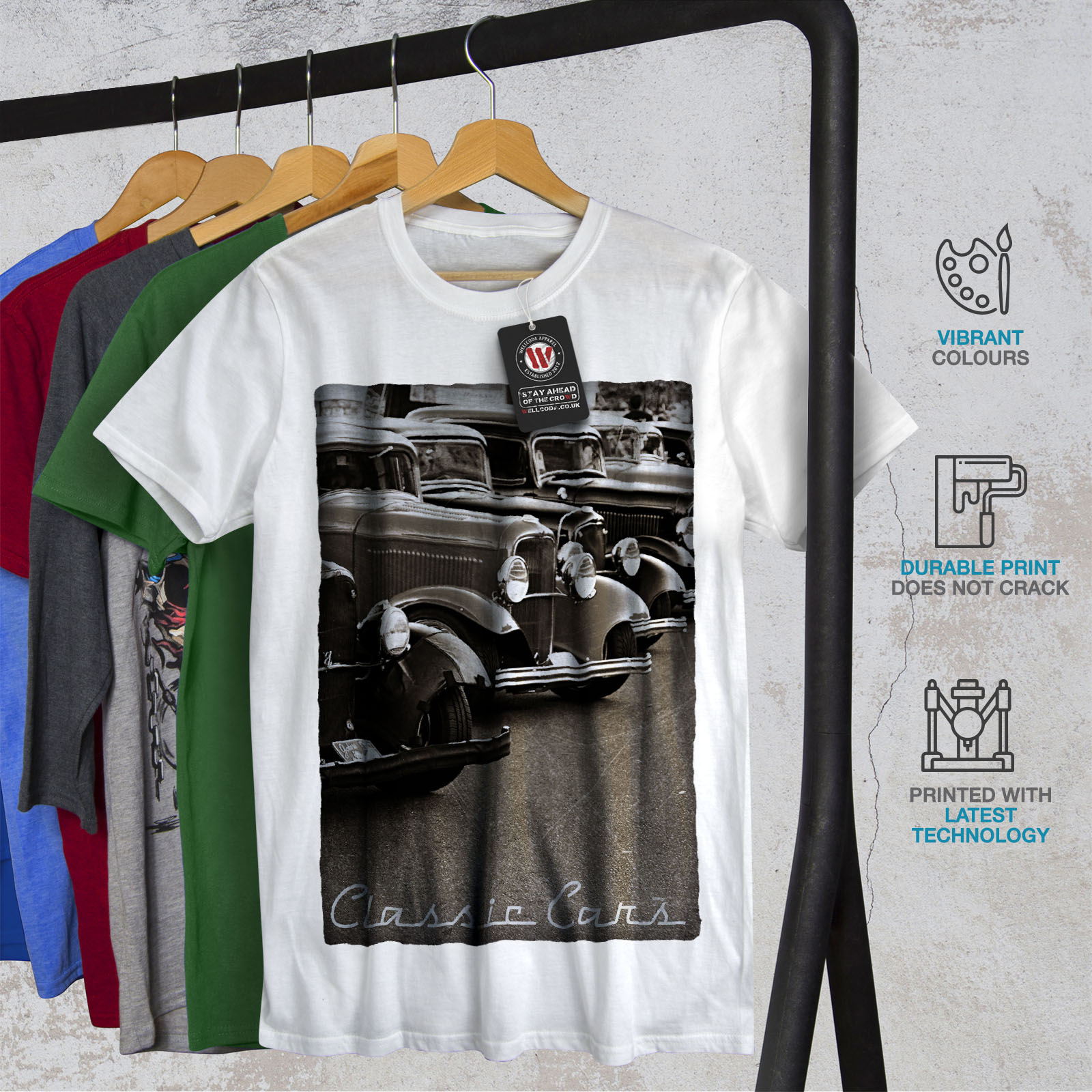 Wellcoda-Classic-Cars-Mens-T-shirt-Retro-Graphic-Design-Printed-Tee thumbnail 12