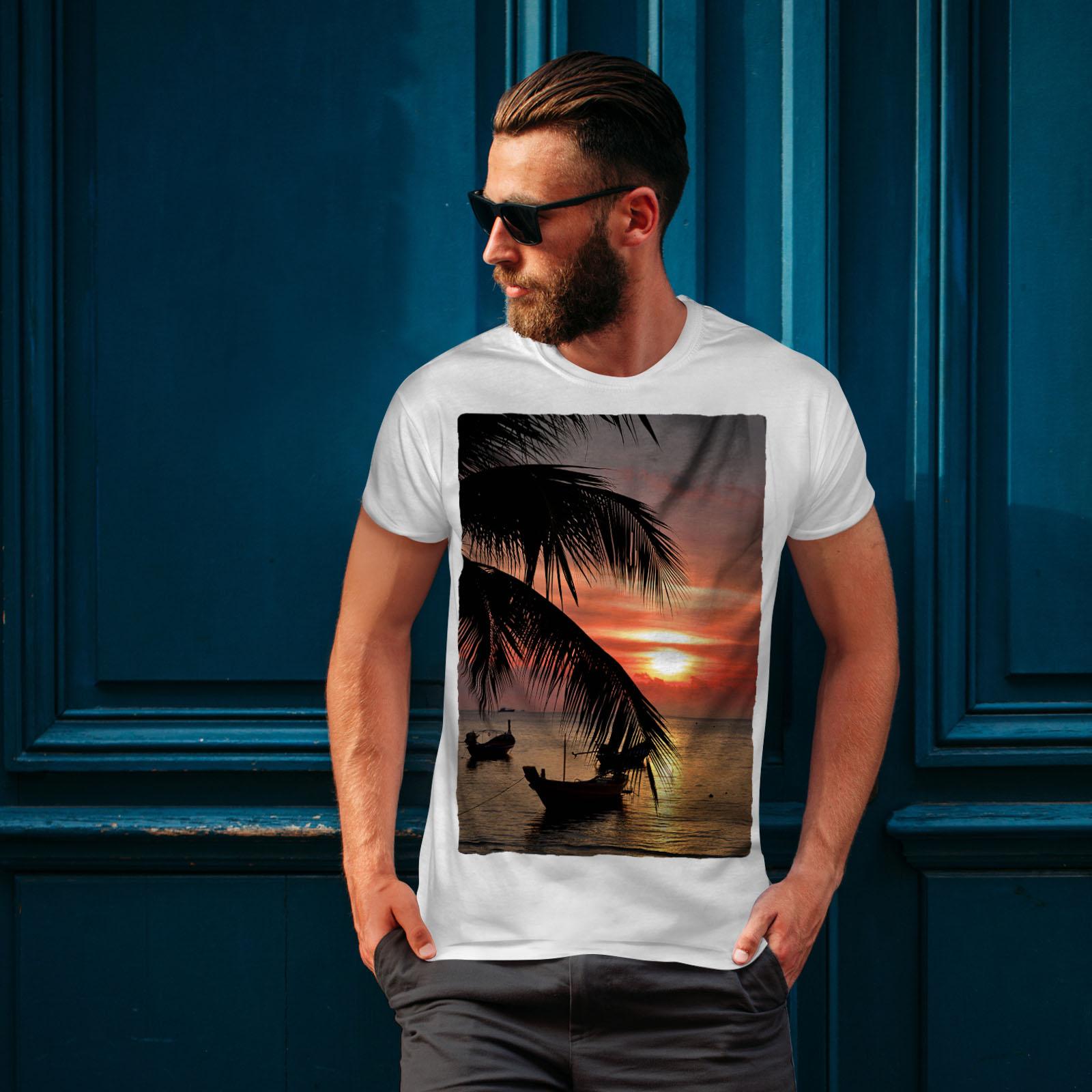 Wellcoda-Sunset-Palm-Tree-Mens-T-shirt-Ocean-Beach-Graphic-Design-Printed-Tee thumbnail 10
