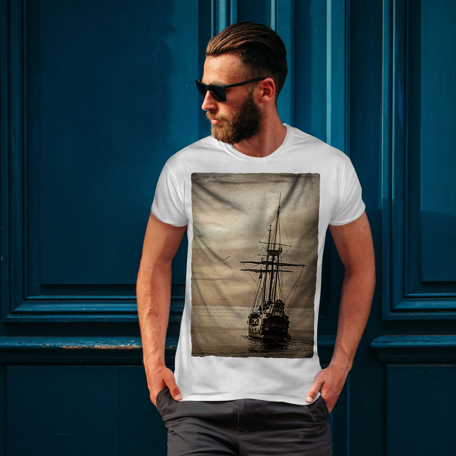 Wellcoda-Ship-Old-Ocean-Vintage-Mens-T-shirt-Sea-Graphic-Design-Printed-Tee thumbnail 10