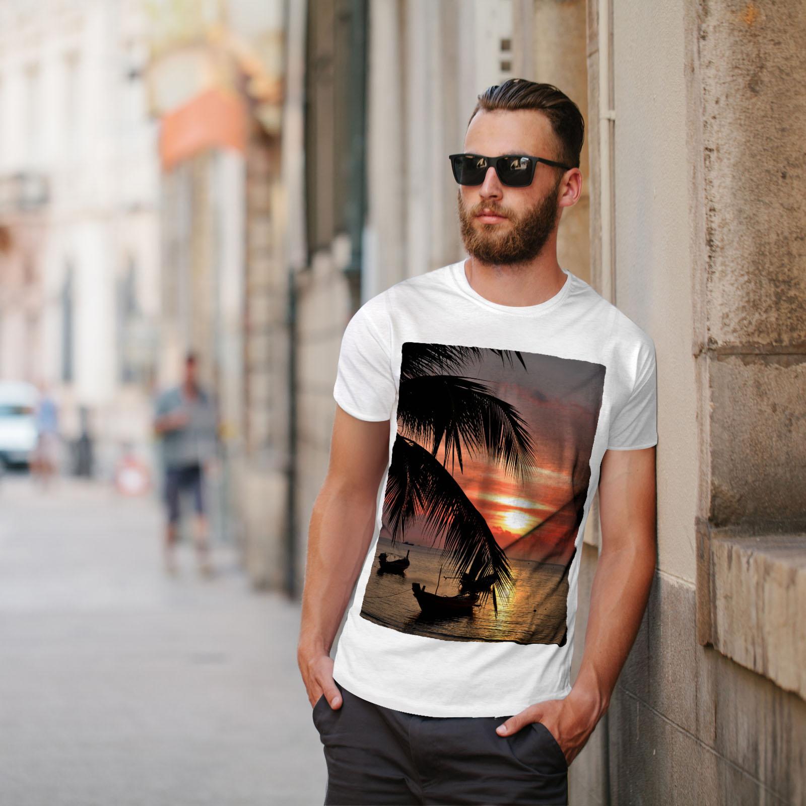Wellcoda-Sunset-Palm-Tree-Mens-T-shirt-Ocean-Beach-Graphic-Design-Printed-Tee thumbnail 11