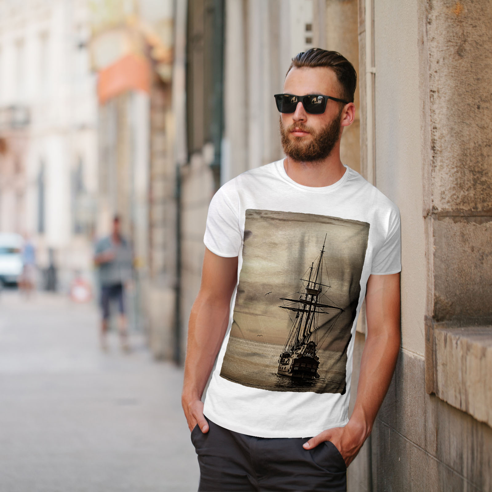 Wellcoda-Ship-Old-Ocean-Vintage-Mens-T-shirt-Sea-Graphic-Design-Printed-Tee thumbnail 11