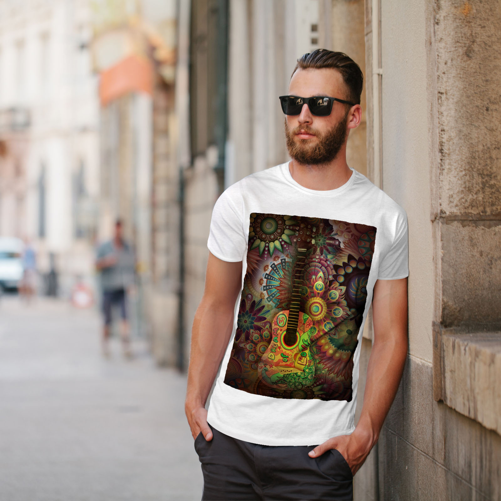 Wellcoda-Colorful-Guitar-Mens-T-shirt-Music-Graphic-Design-Printed-Tee thumbnail 11