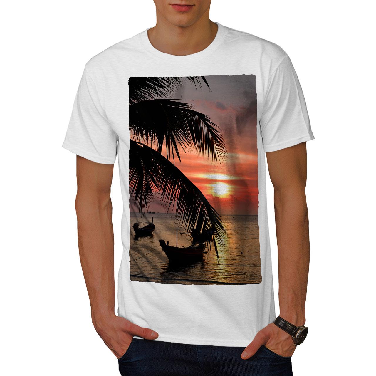 Wellcoda-Sunset-Palm-Tree-Mens-T-shirt-Ocean-Beach-Graphic-Design-Printed-Tee thumbnail 9