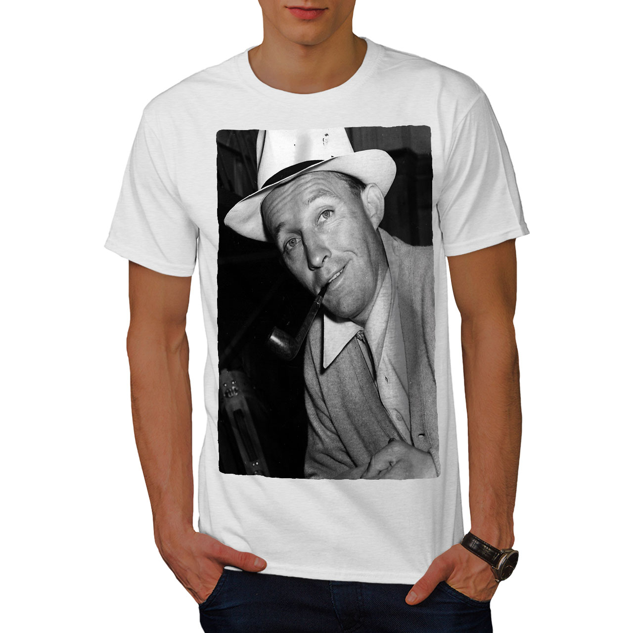 6117cbcc2 Wellcoda Bing Crosby Celebrity Mens T-shirt, Famous Graphic Design ...