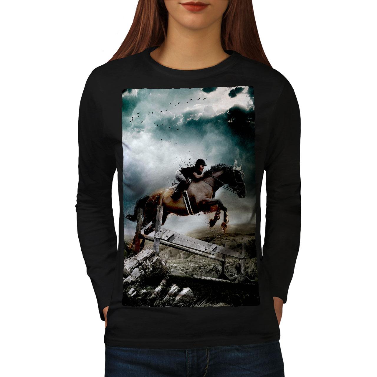 Animal Casual Design Printed Tee Wellcoda Horse Cool Animal Womens T-shirt