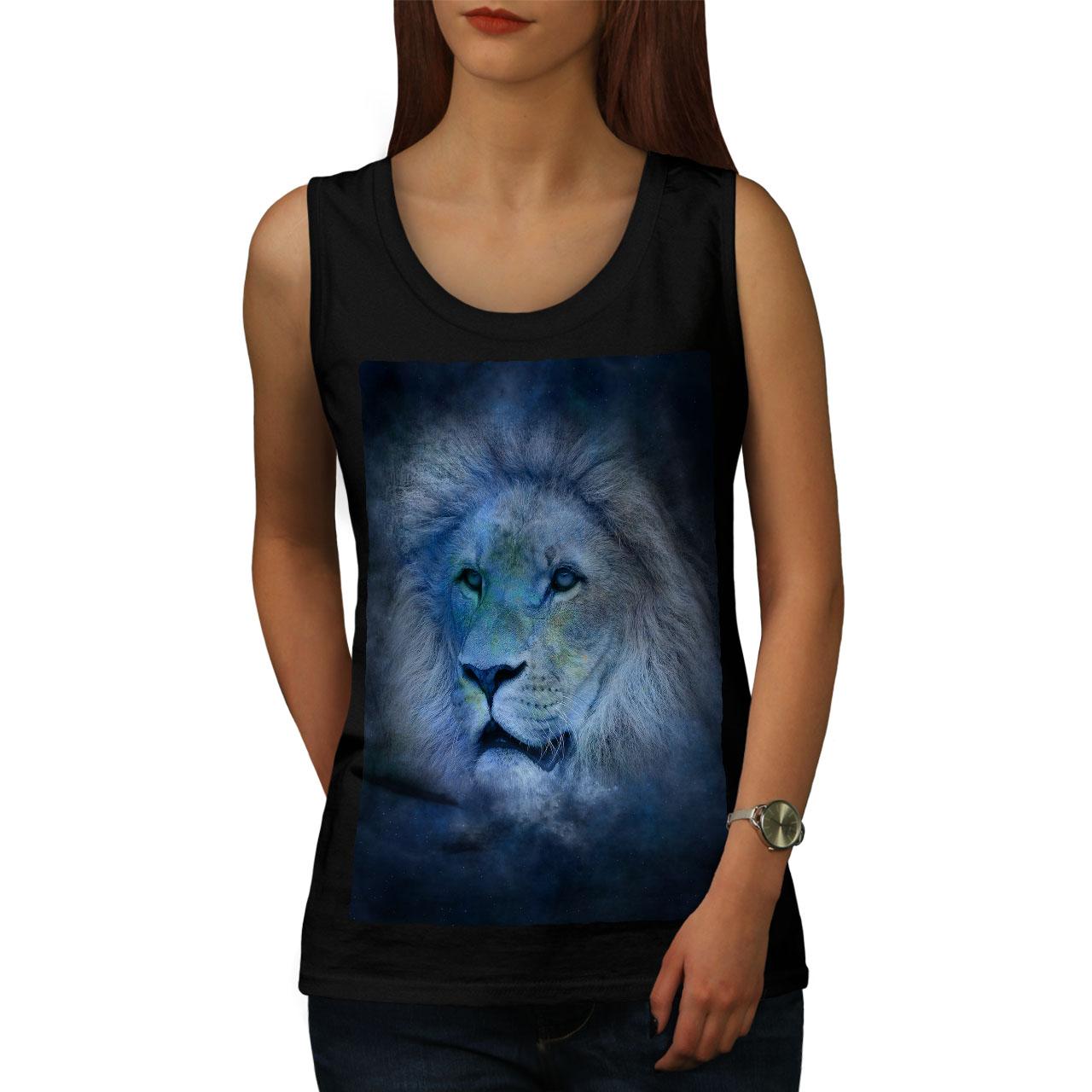 Wellcoda Lion Cat Face Art Womens V-Neck T-shirt Ruler Graphic Design Tee
