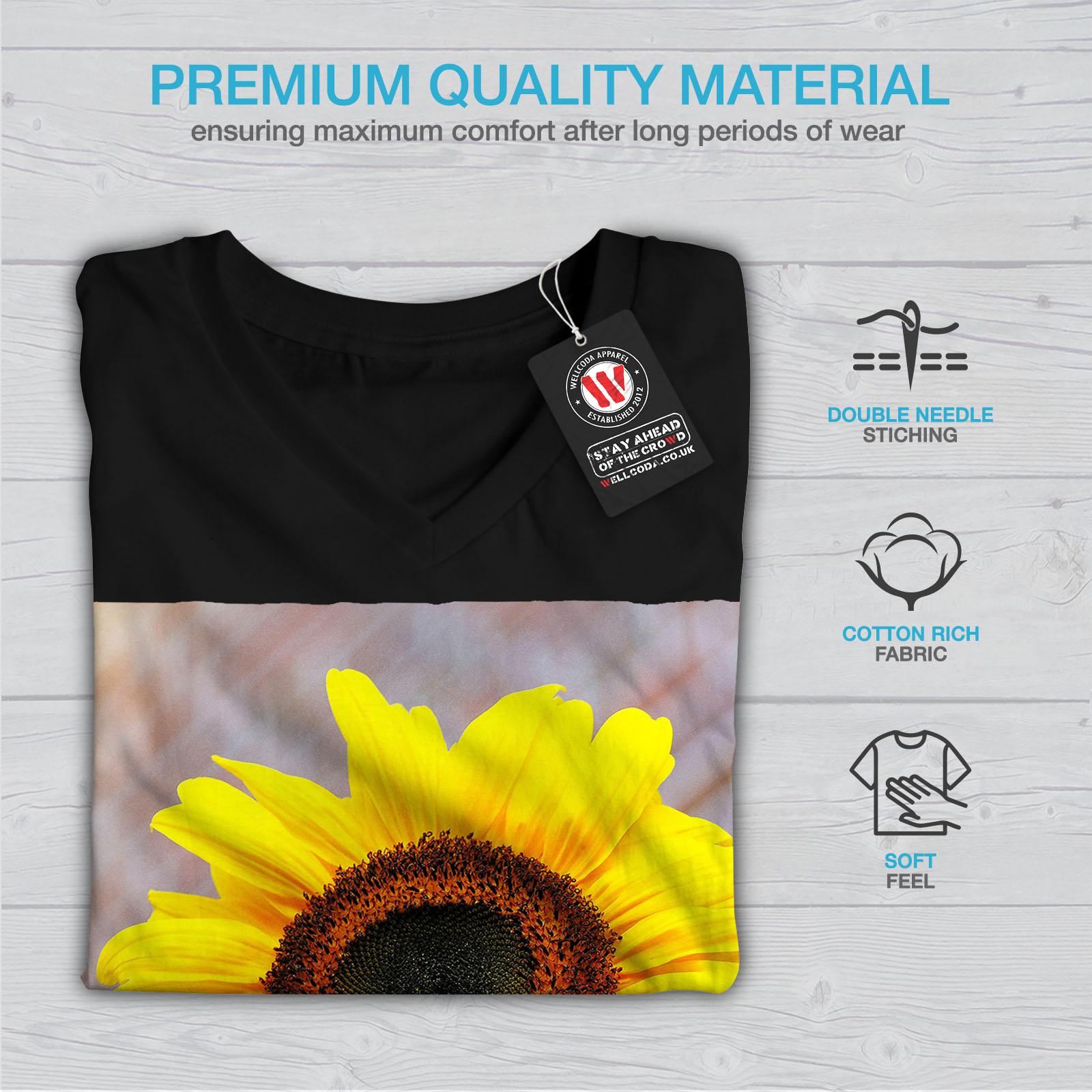 Wellcoda-Sunflower-Photo-Nature-Womens-V-Neck-T-shirt-Nature-Graphic-Design-Tee thumbnail 5