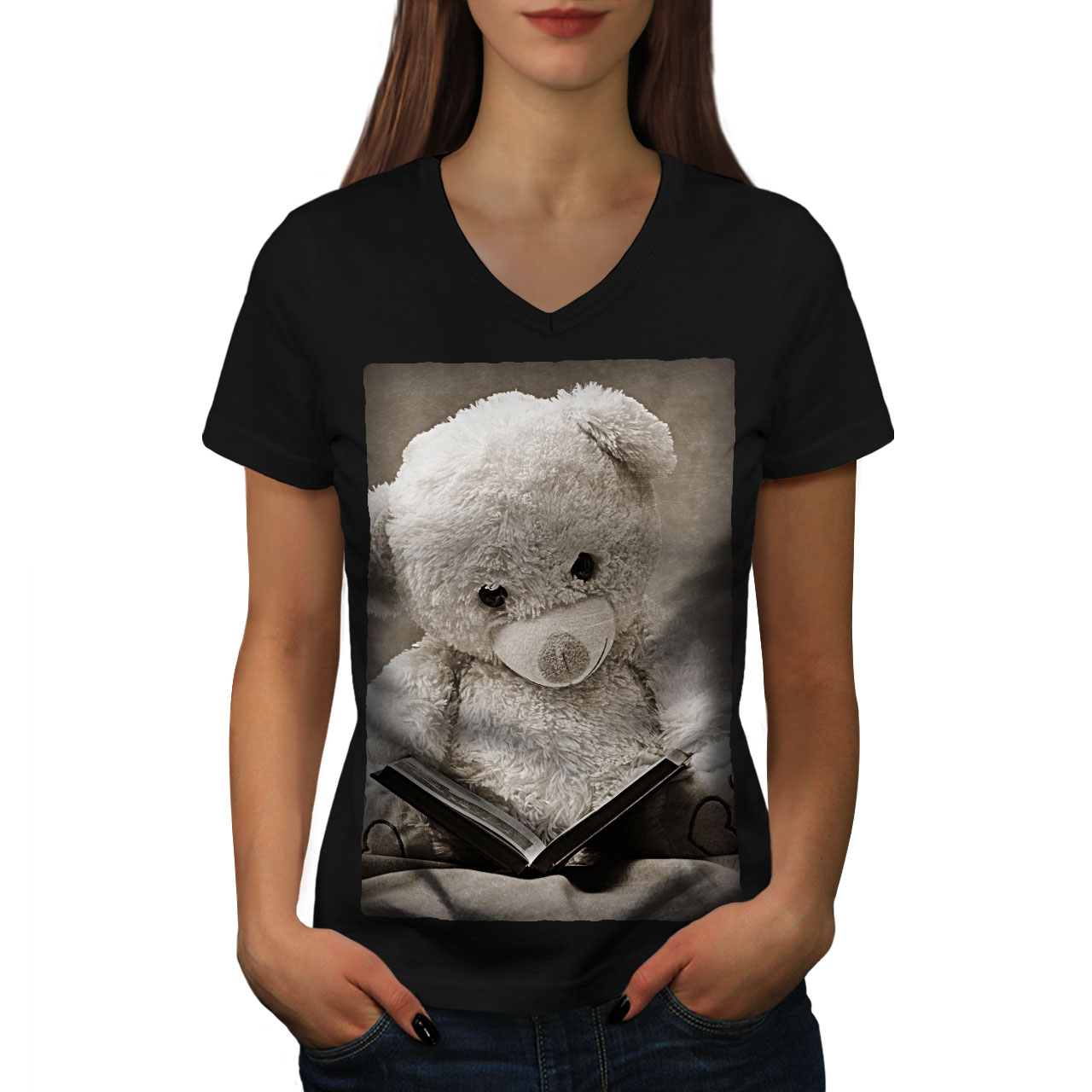 Book Graphic Design Tee Wellcoda Fairytale Teddy Bear Womens V-Neck T-shirt