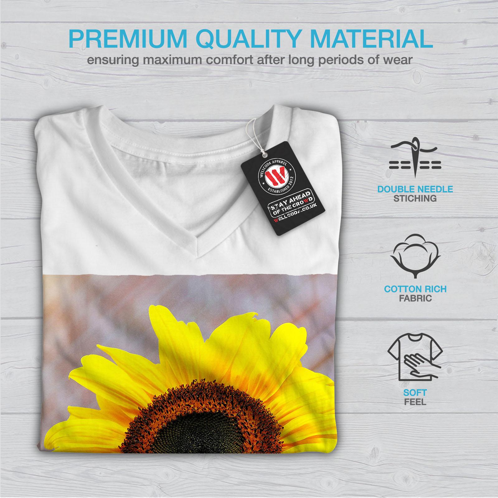 Wellcoda-Sunflower-Photo-Nature-Womens-V-Neck-T-shirt-Nature-Graphic-Design-Tee thumbnail 9