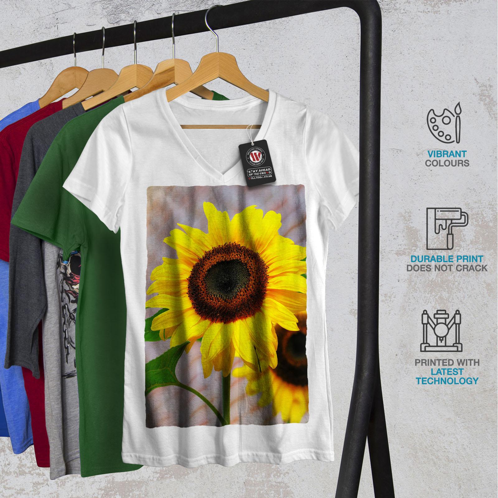 Wellcoda-Sunflower-Photo-Nature-Womens-V-Neck-T-shirt-Nature-Graphic-Design-Tee thumbnail 8