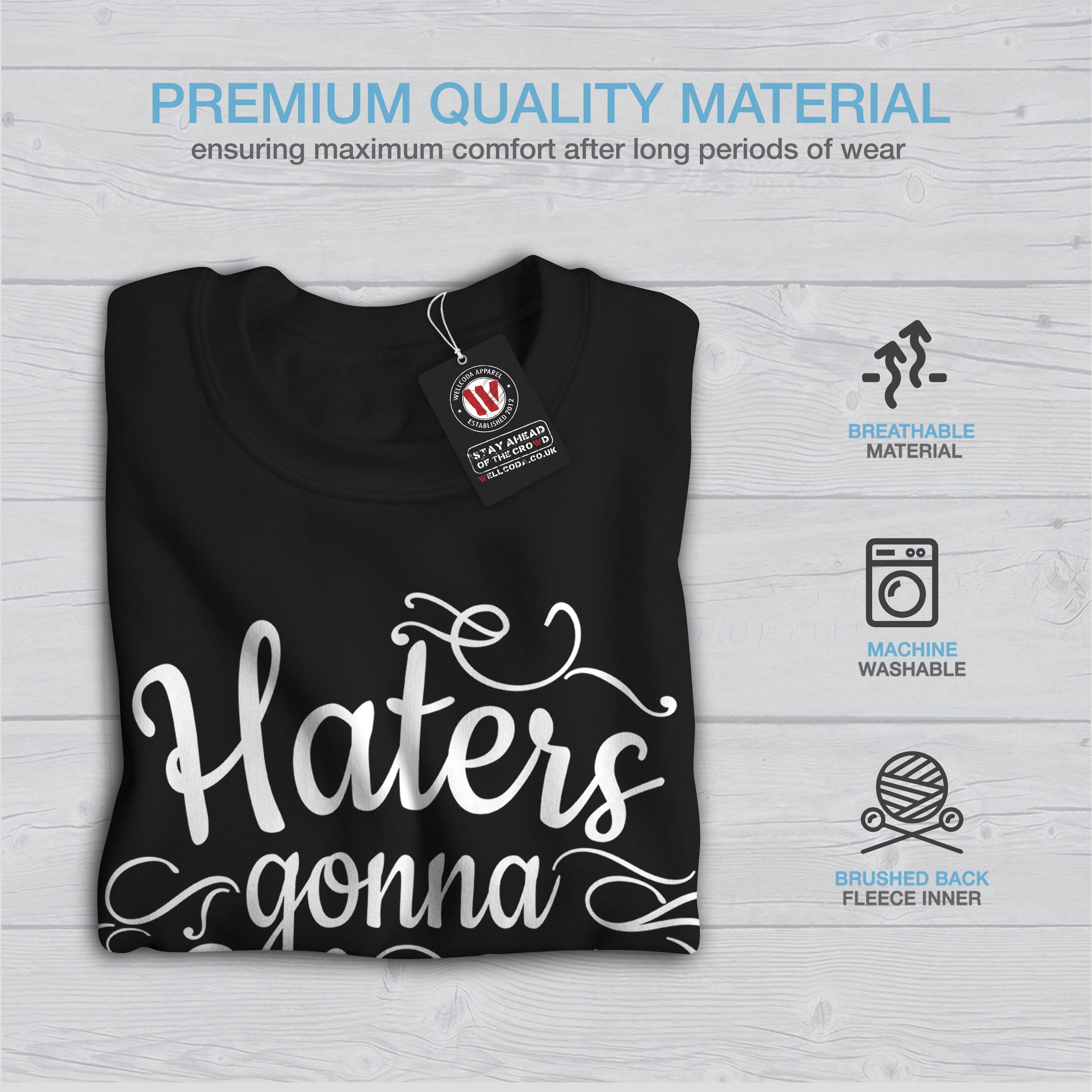 Gonna pullover casual Haters Wellcoda Hate divertente nero Sweatshirt Mens pullover RYF8q85x