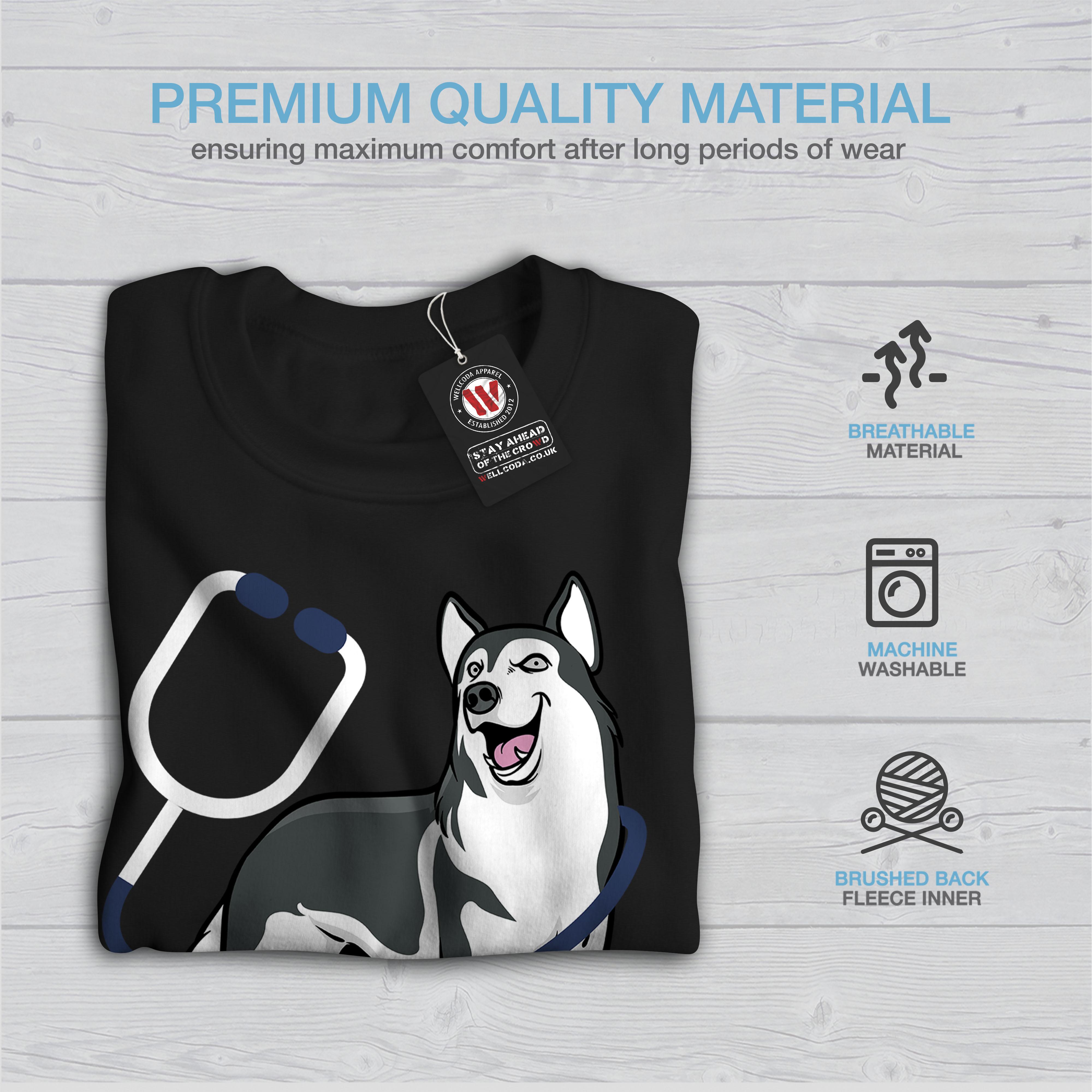 Dog Happy Casual Jumper Wellcoda Vet Doctor Husky Mens Contrast Hoodie