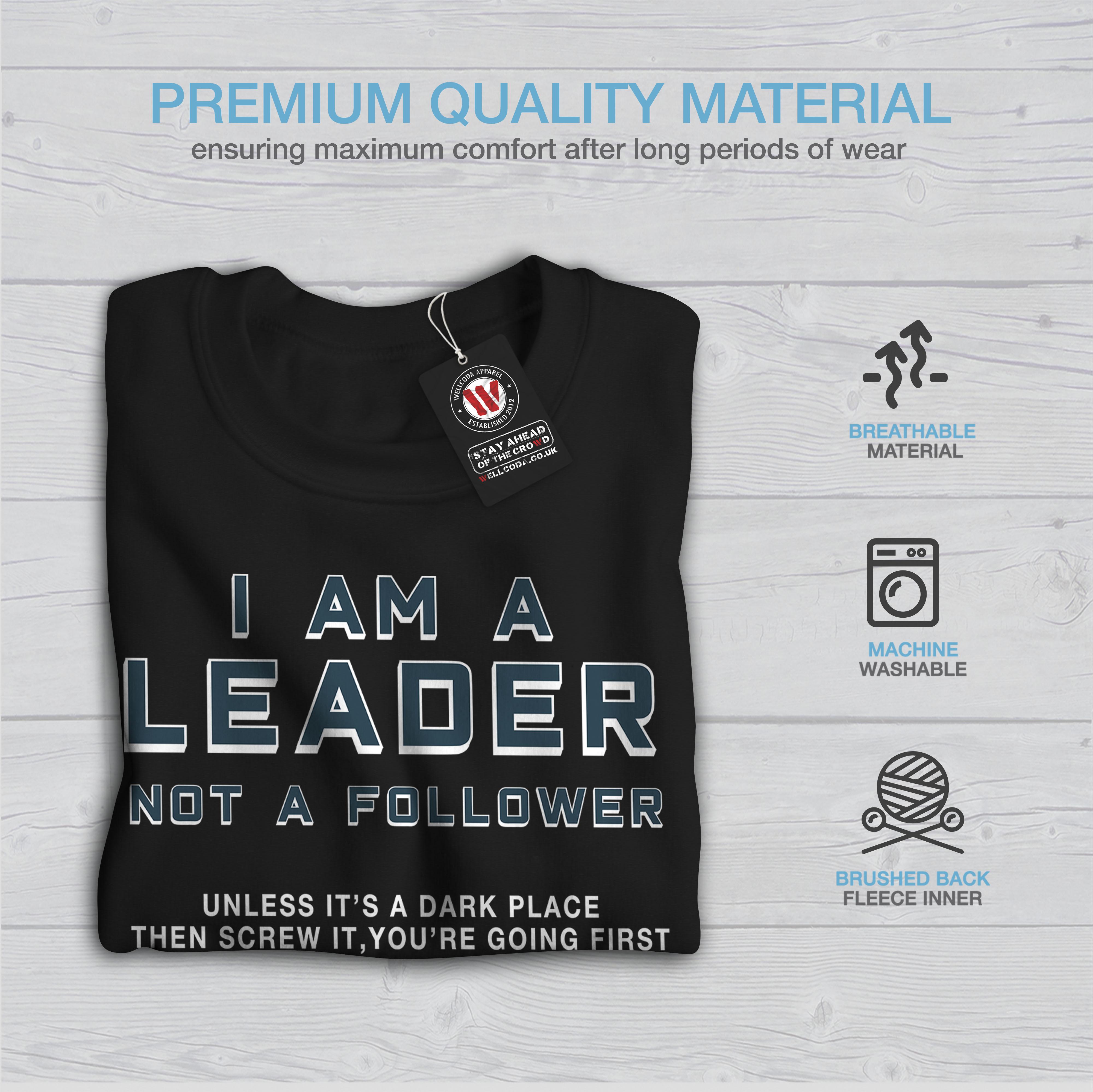 Leader pullover Funny nero Mens Wellcoda Sweatshirt casual scuro pullover Scared dpw18g