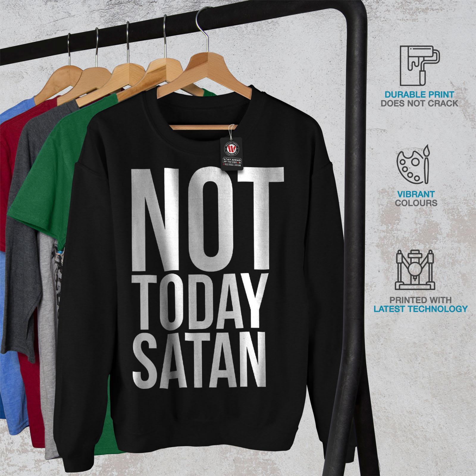 Pullover Wellcoda Occulte Jumper Noir Pas aujourd'hui Sweatshirt Hommes Satan qGzUMpSV