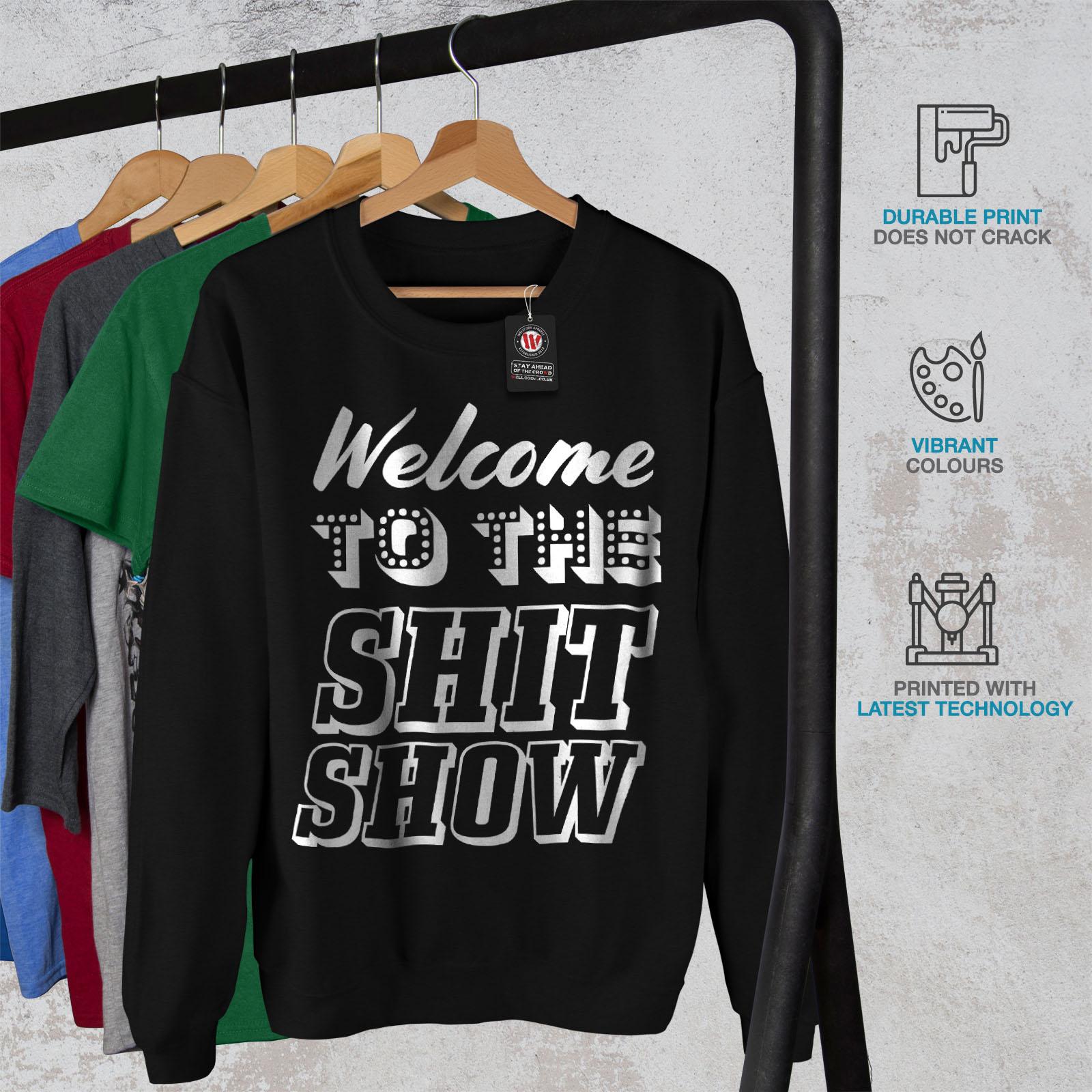 Wellcoda To pullover Welcome casual nero da uomodivertente pullover Town Felpa LqzpGjUMVS