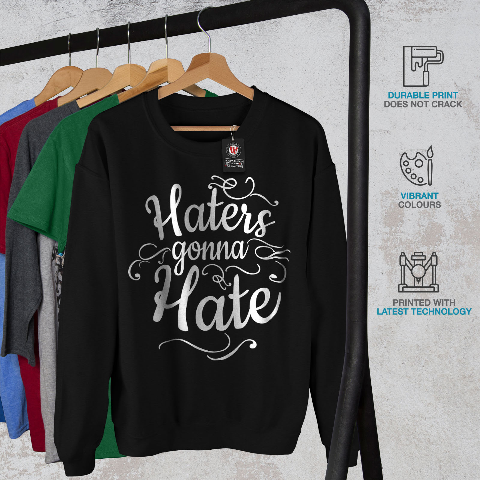 pullover pullover Haters nero Hate Wellcoda Gonna casual Mens divertente Sweatshirt w8Xwq7x