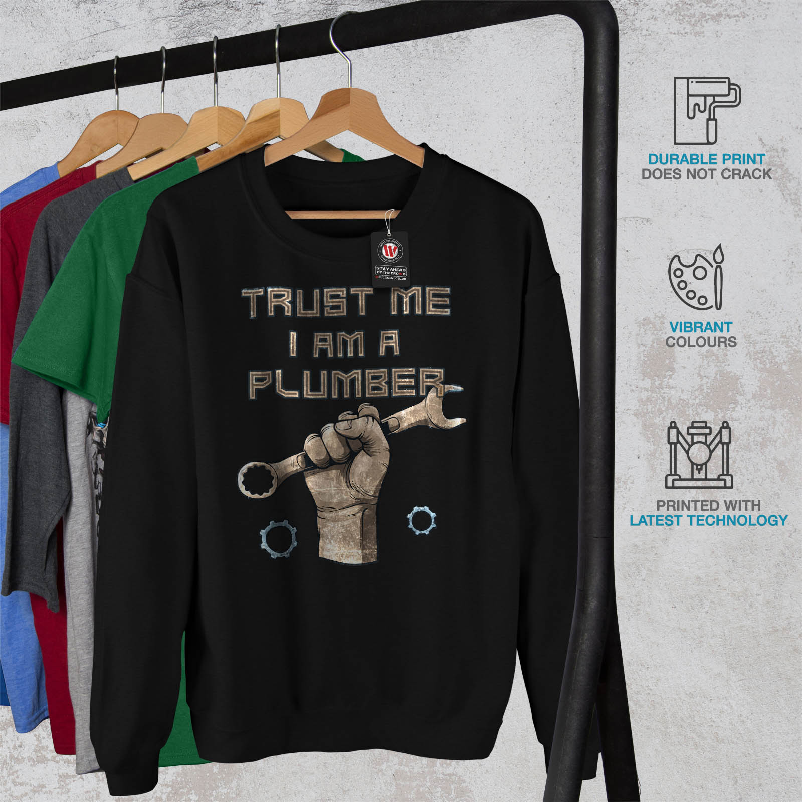 HommePull over Noir Trust Me Casual Sweat Plombier Wellcoda rBedxoC